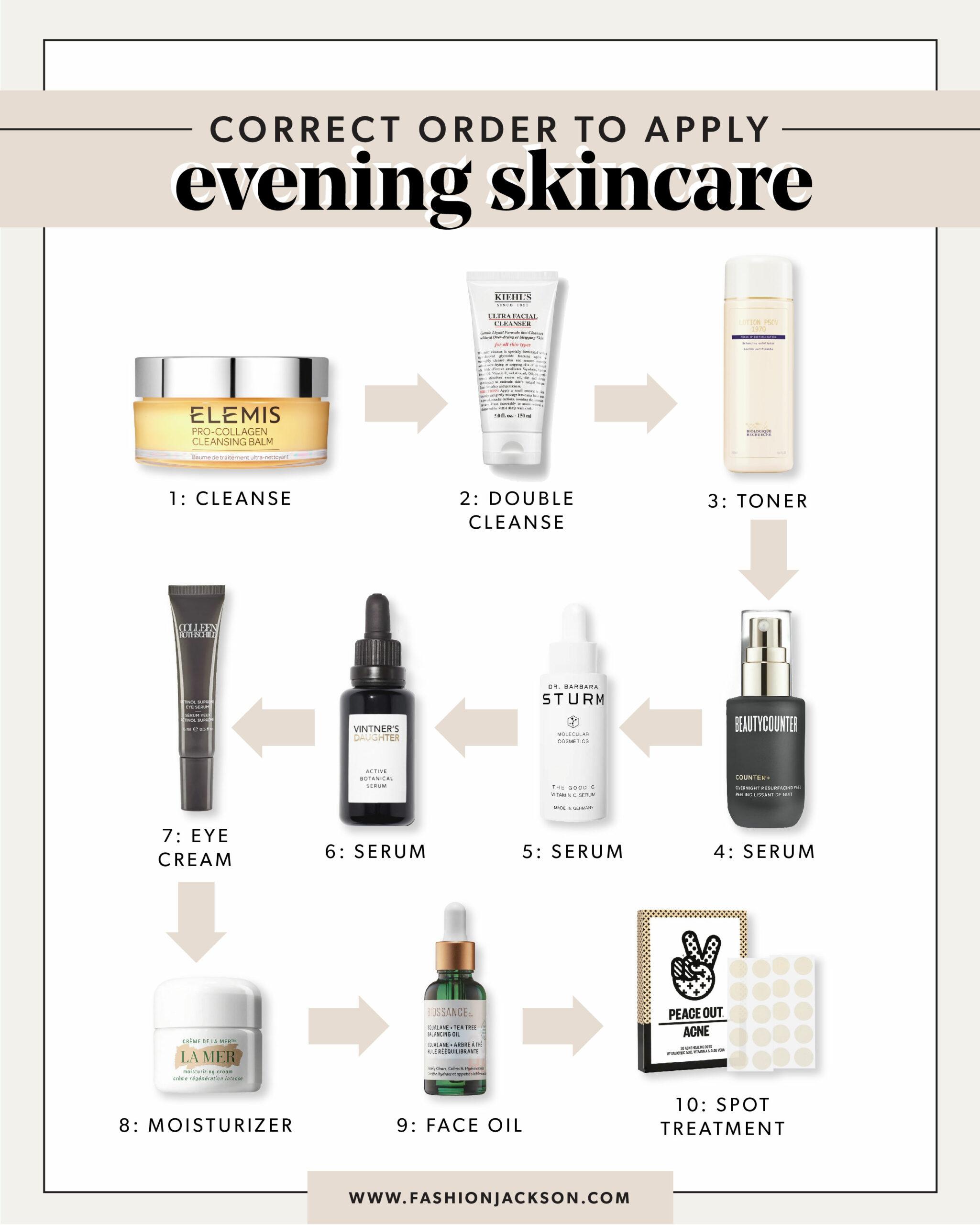 fashion jackson correct order to apply skincare evening routine