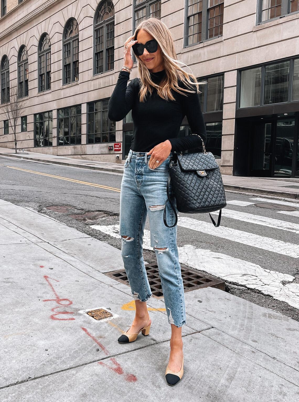 Fashion Jackson Wearing Amazon Fashion Black Long Sleeve Top Ripped Jeans Chanel Slingbacks Chanel Backpack