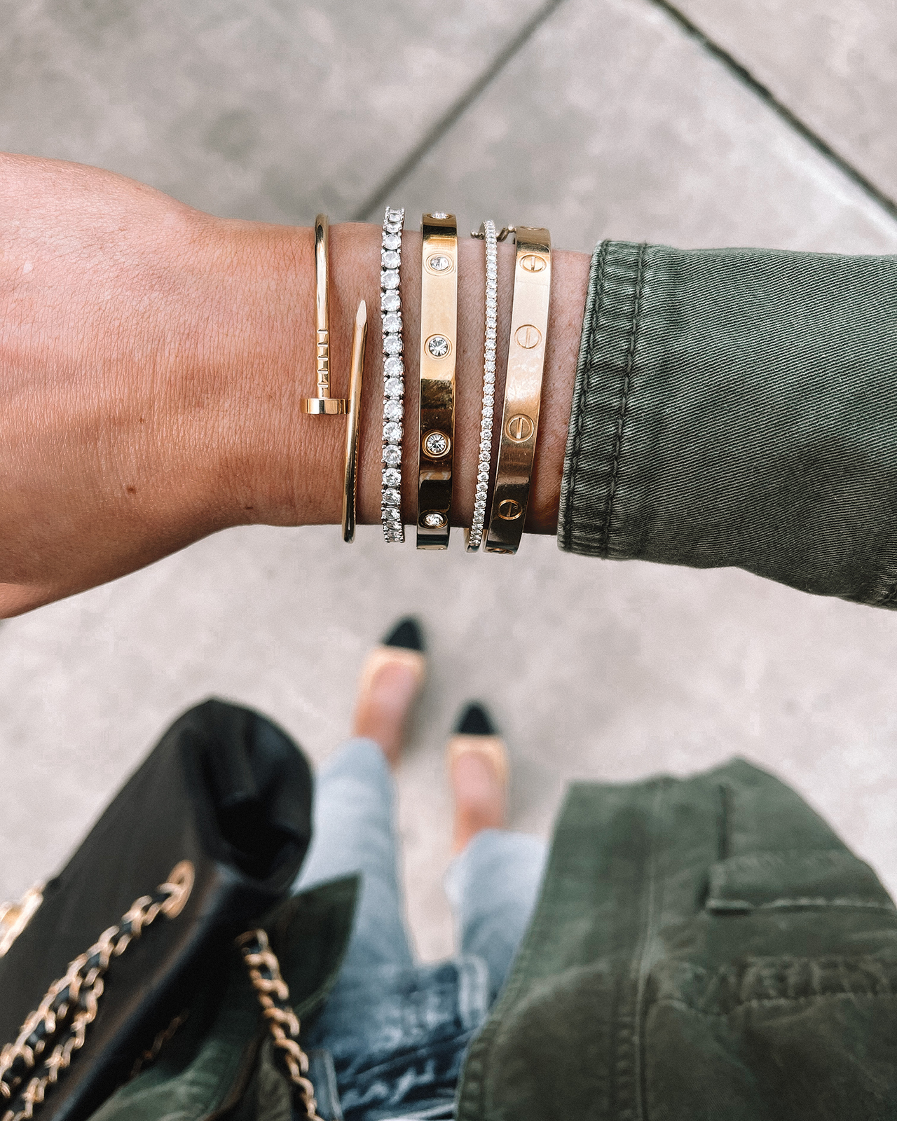 Fashion Jackson Wearing Amazon Fashion Jewelry Gold love bracelet CZ Diamond Tennis Bracelet