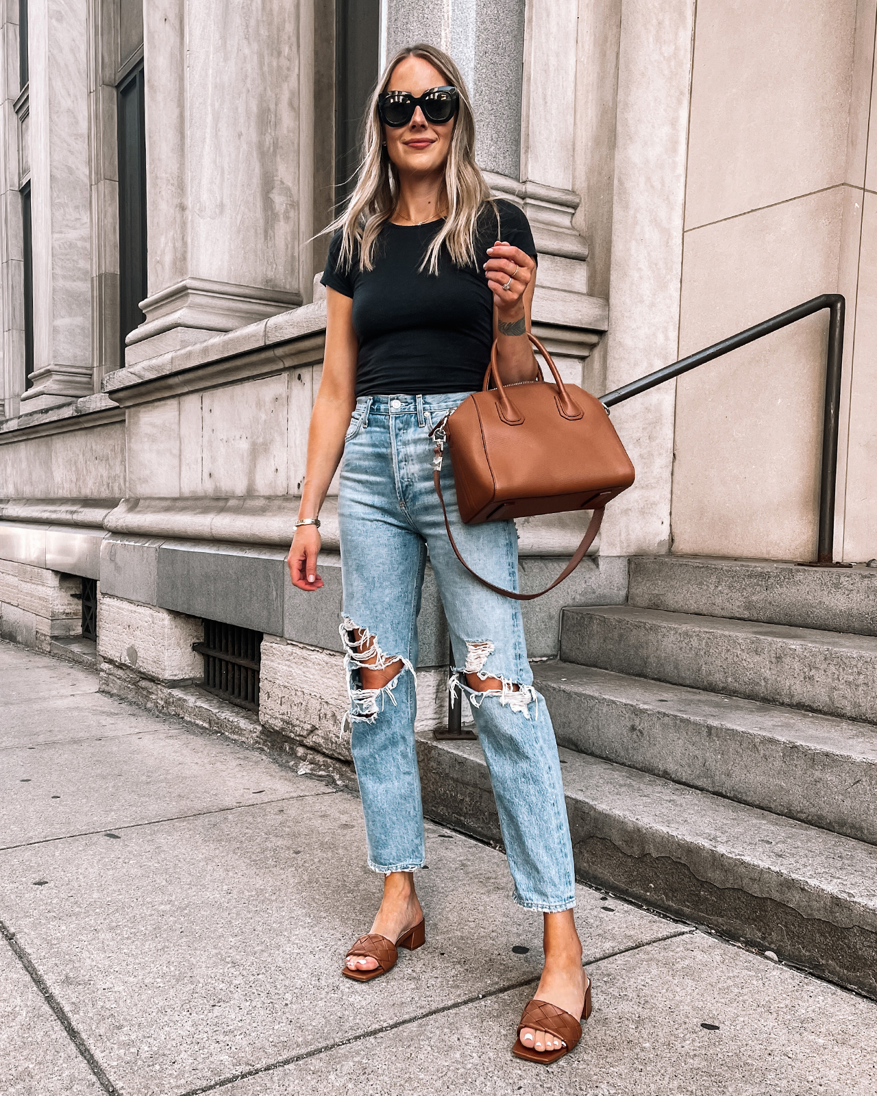 Fashion Jackson Wearing Black Bodysuit AGOLDE 90s Ripped Jeans Vince Camuto Brown Block Heel Sandals 1