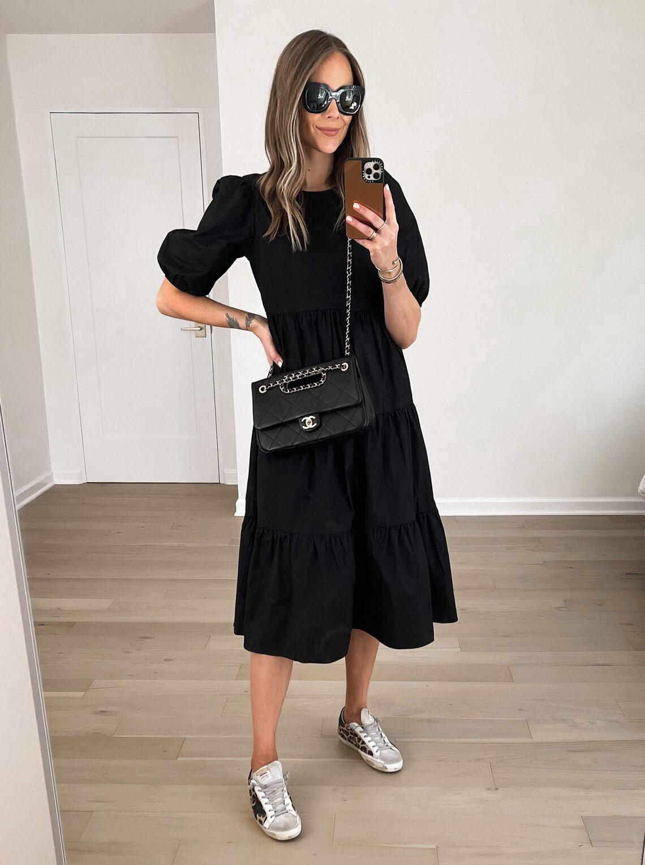 Fashion Jackson Wearing Black Midi Dress Leopard Golden Goose Sneakers Black Chanel Handbag Outfit Daily