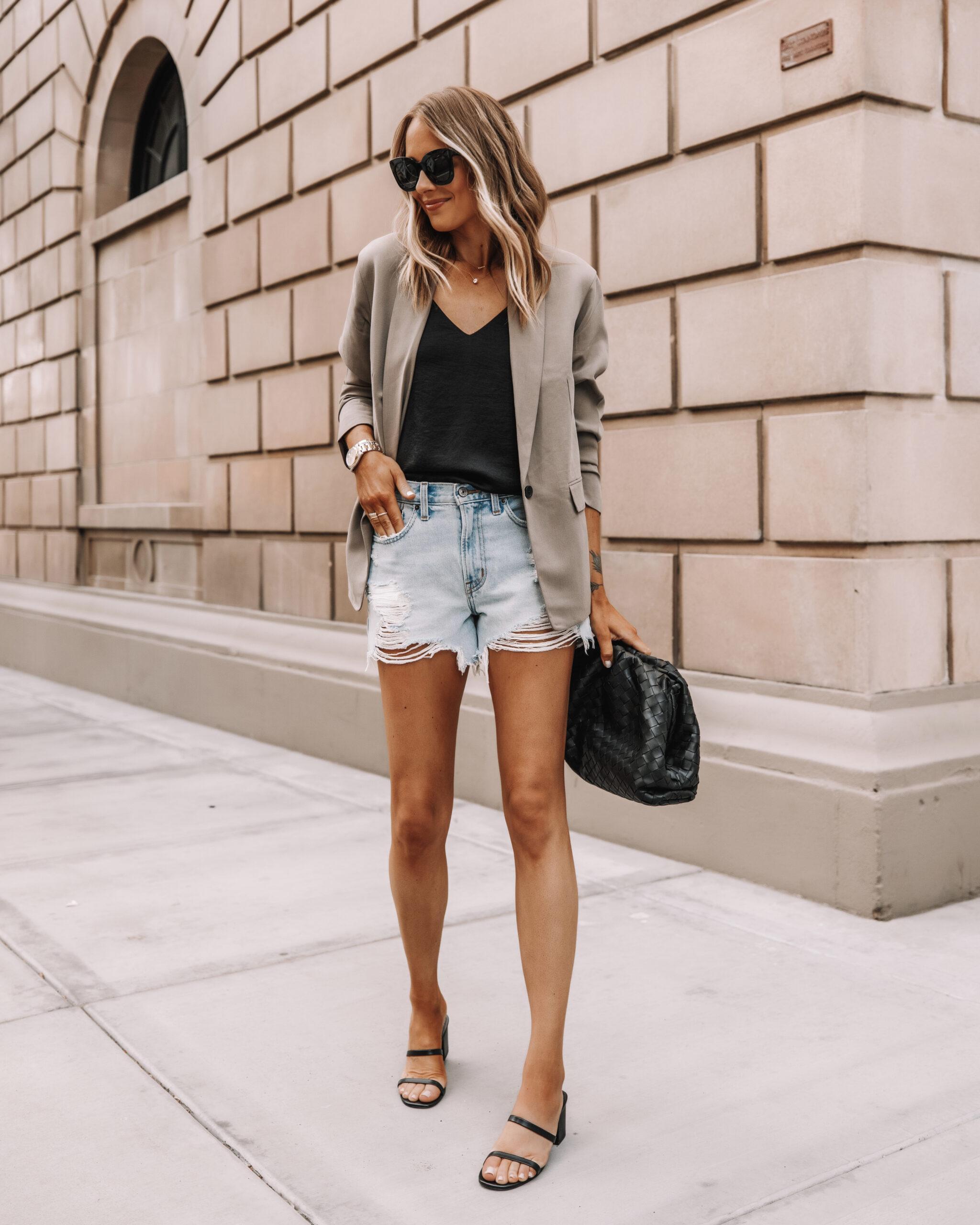 Fashion Jackson Wearing Everlane Taupe Blazer Black Tank Abercrombie Ripped Denim Shorts Black Block Heel Sandals