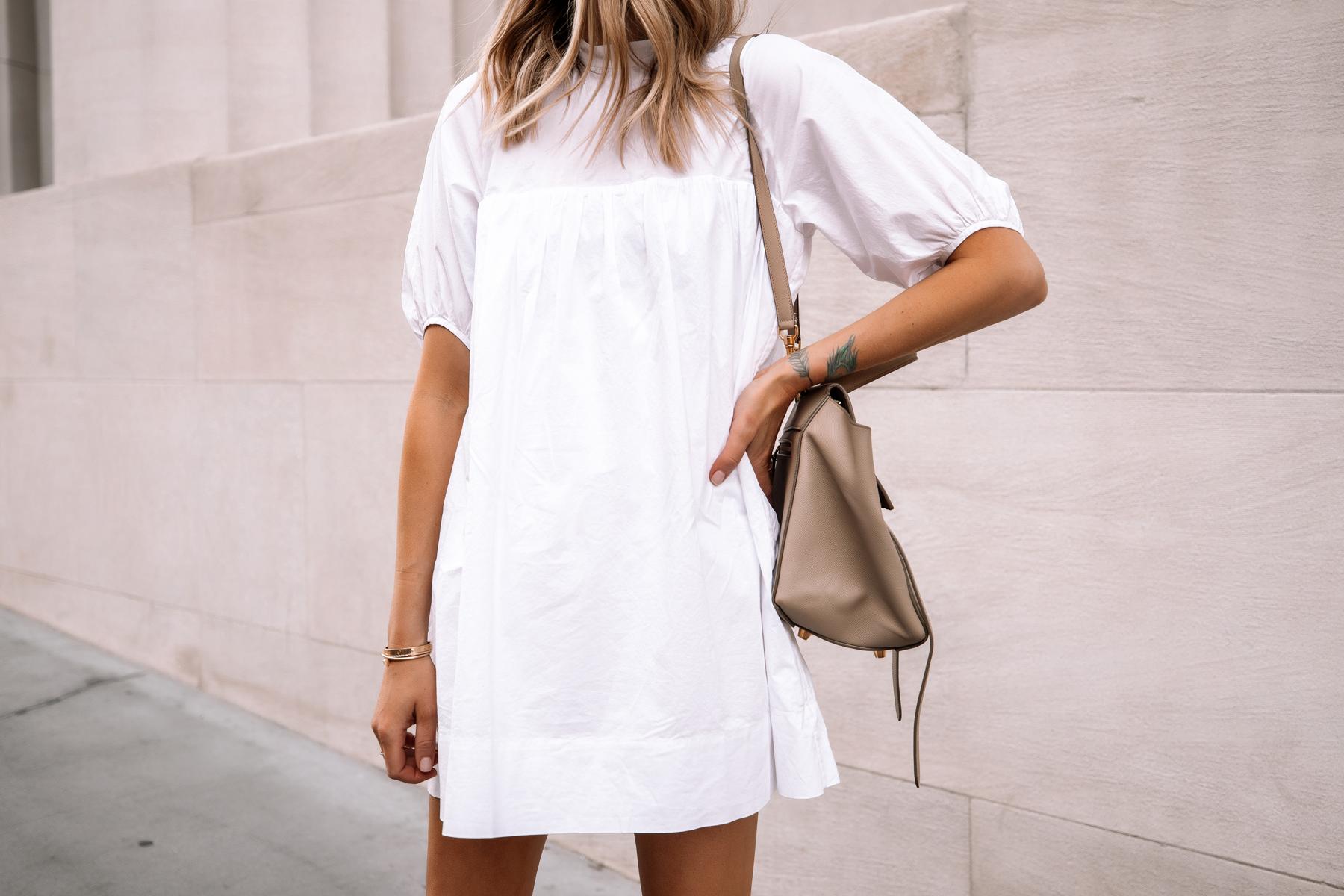 Fashion Jackson Wearing Everlane White Mini Dress Celine Mini Belt Bag Summer Dress 1