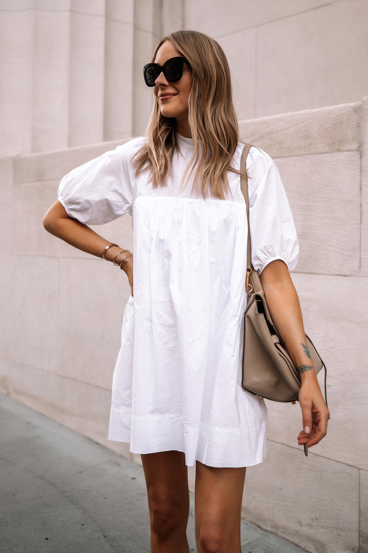 Fashion Jackson Wearing Everlane White Mini Dress Celine Mini Belt Bag Summer Dress