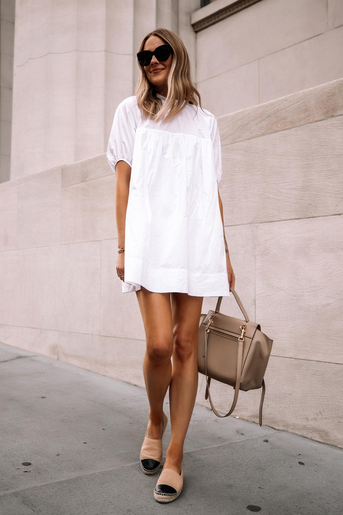 Fashion Jackson Wearing Everlane White Mini Dress Chanel Espadrilles Celine Mini Belt Bag Summer Dress 1