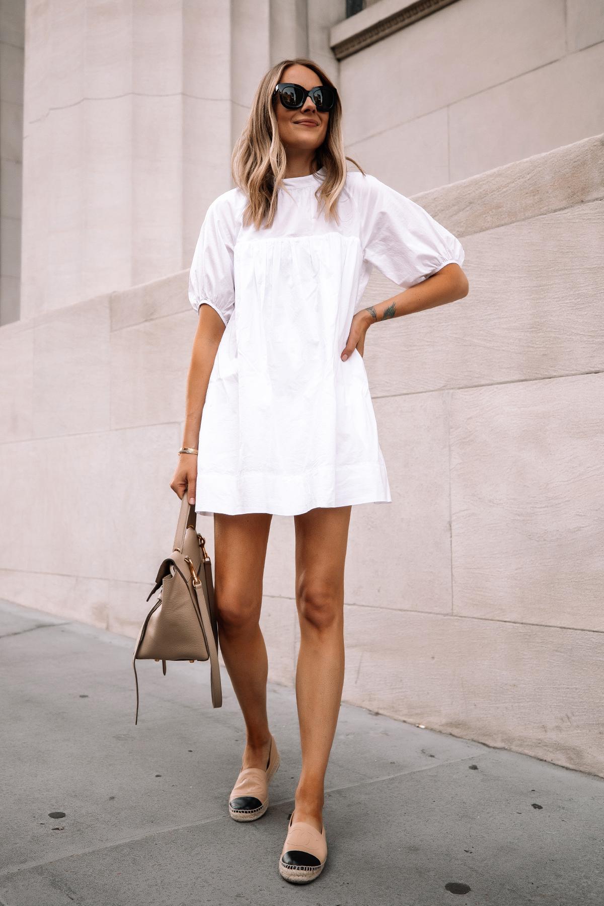 Fashion Jackson Wearing Everlane White Mini Dress Chanel Espadrilles Celine Mini Belt Bag Summer Dress 2