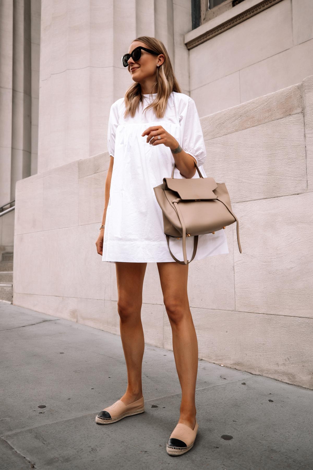 Fashion Jackson Wearing Everlane White Mini Dress Chanel Espadrilles Celine Mini Belt Bag Summer Dress