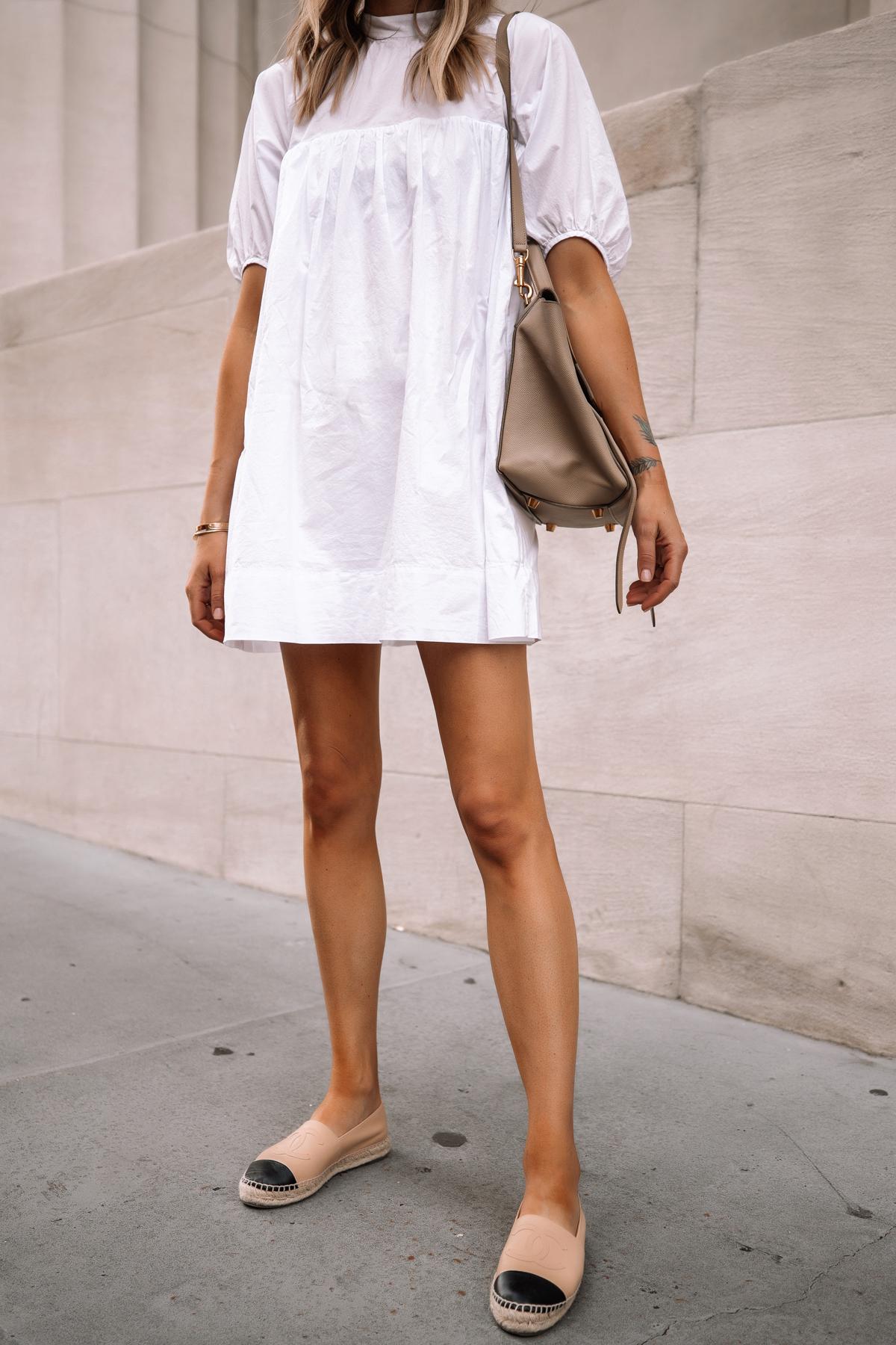 Fashion Jackson Wearing Everlane White Mini Dress Chanel Espadrilles Celine Mini Belt Bag