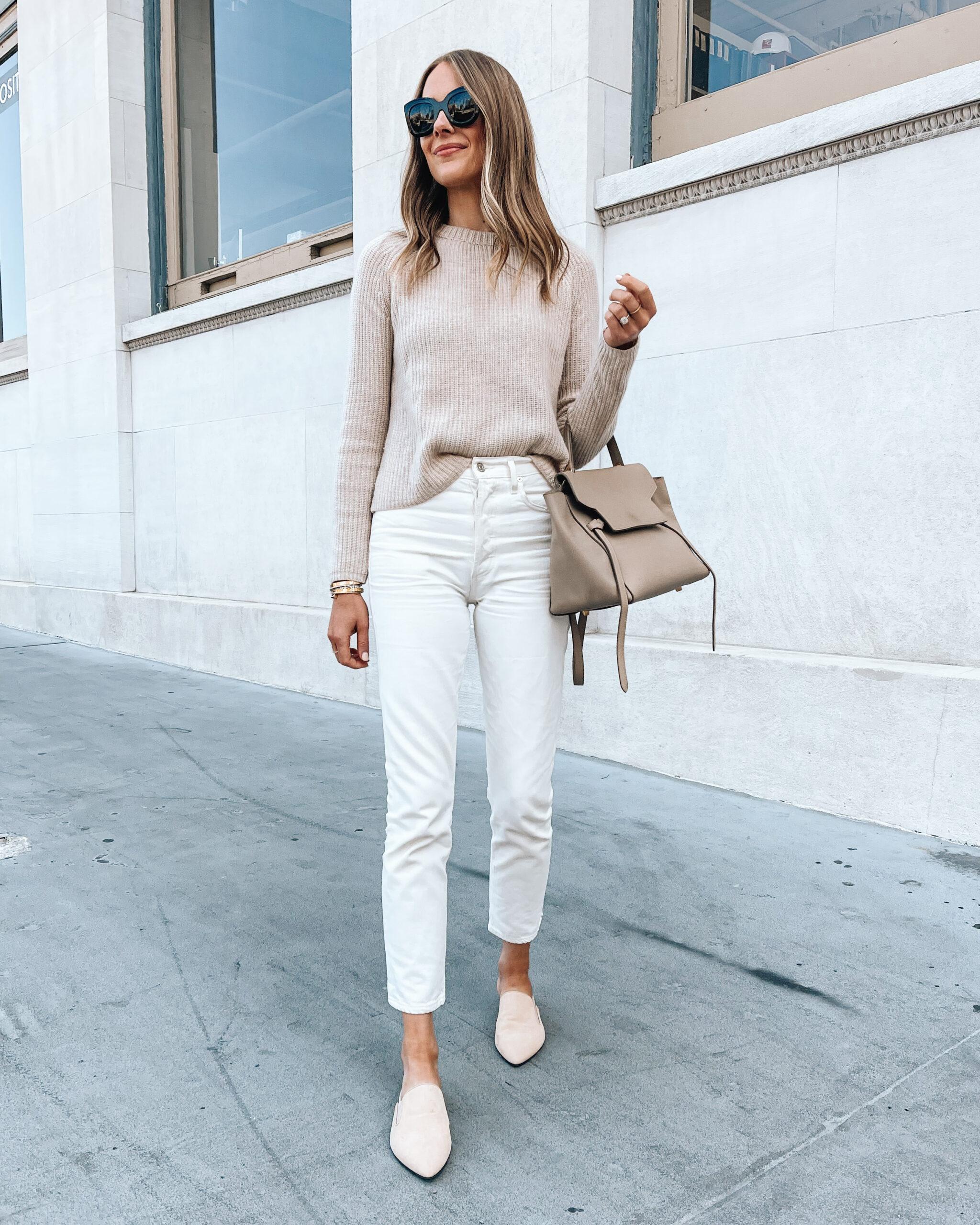 Fashion Jackson Wearing Jenni Kayne Beige Sweater White Jeans Beige Mules