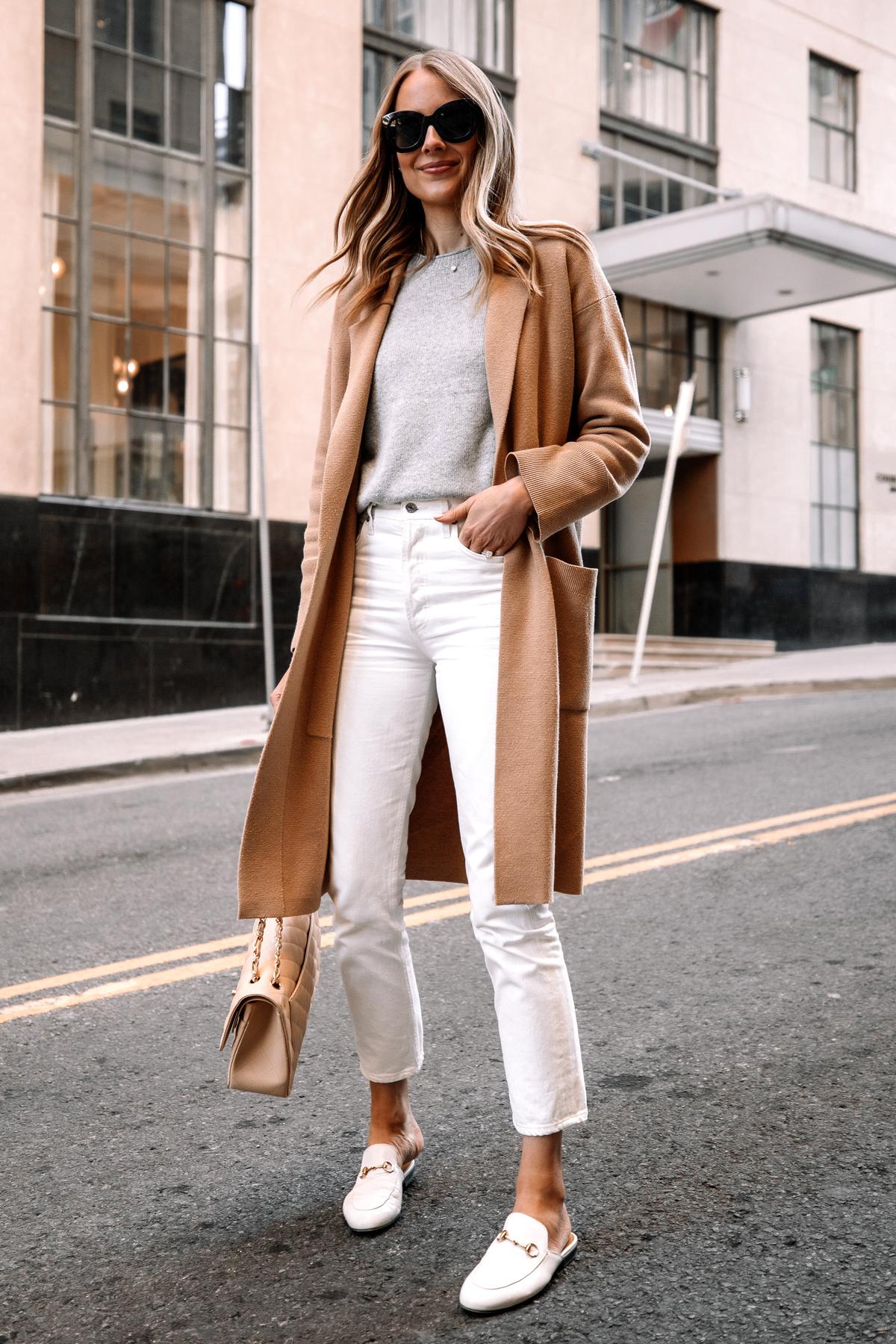 Fashion Jackson Wearing Tan Cardigan Grey Sweater White Jeans White Gucci Princetown Mules Street Style