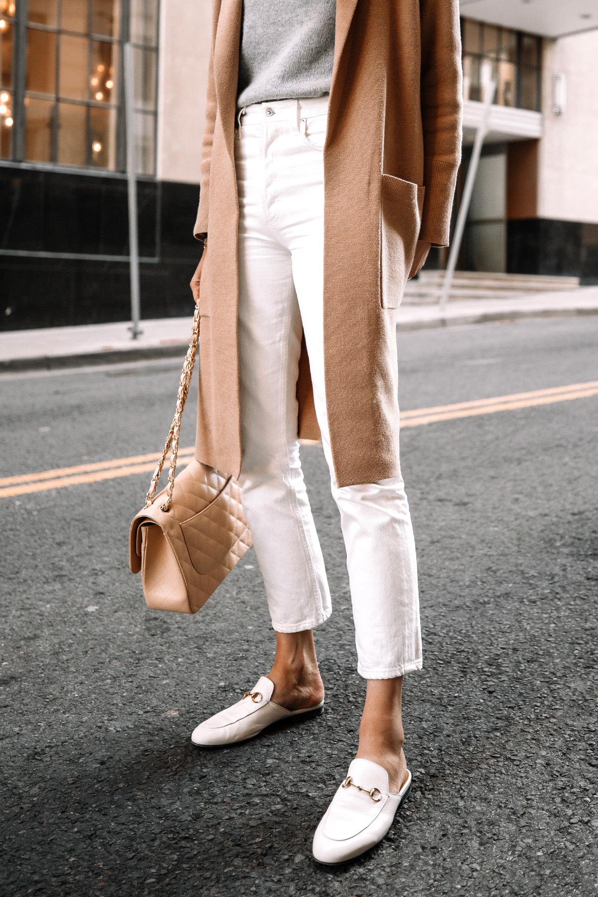 Fashion Jackson Wearing Tan Cardigan Grey Sweater White Jeans White Gucci Princetown Mules