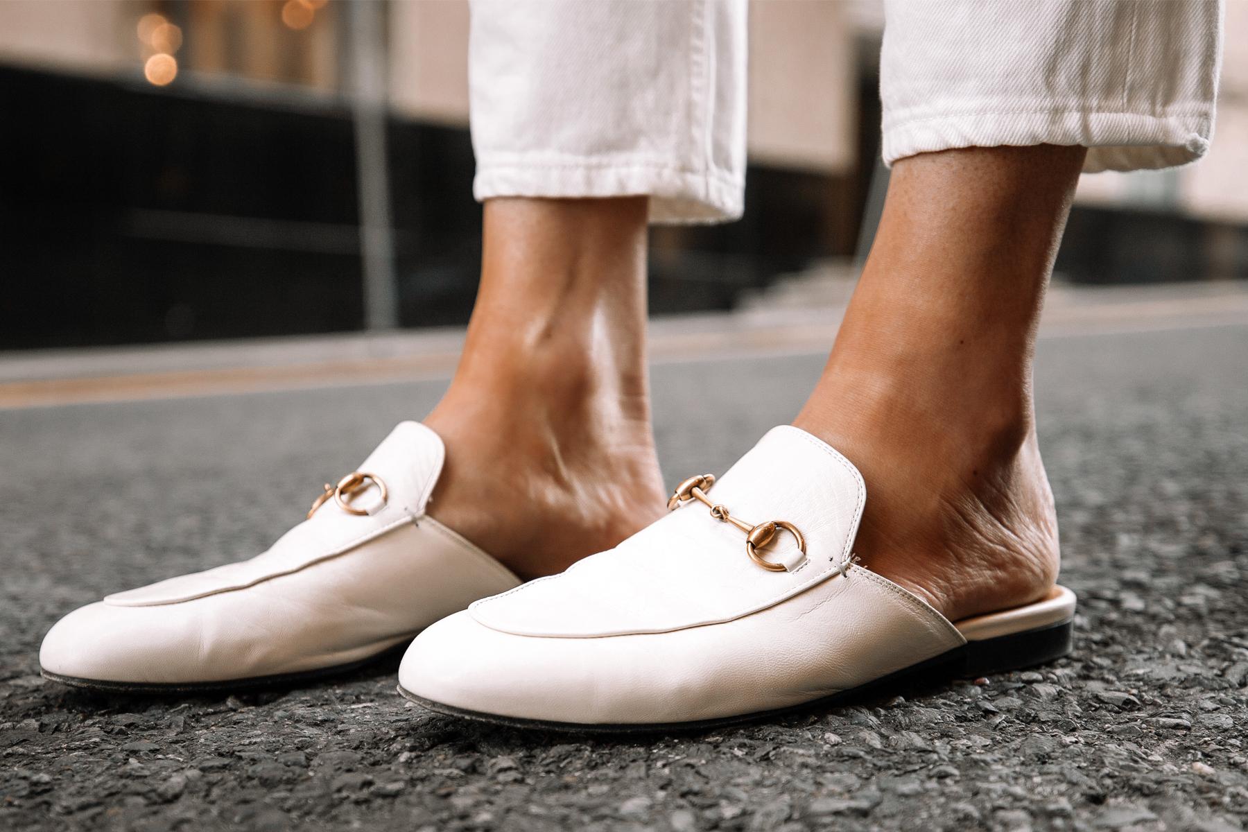 Fashion Jackson Wearing White Gucci Princetown Mules