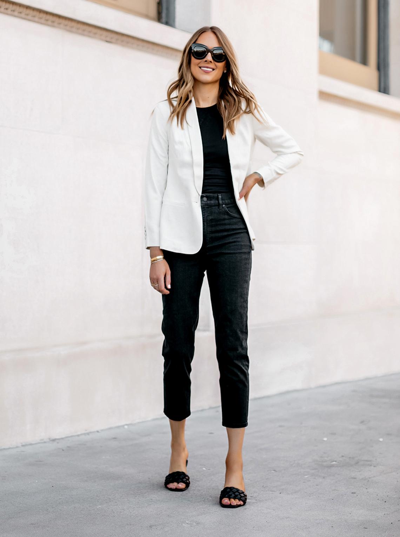 Fashion Jackson wearing Express workwear white blazer black jeans woven slides