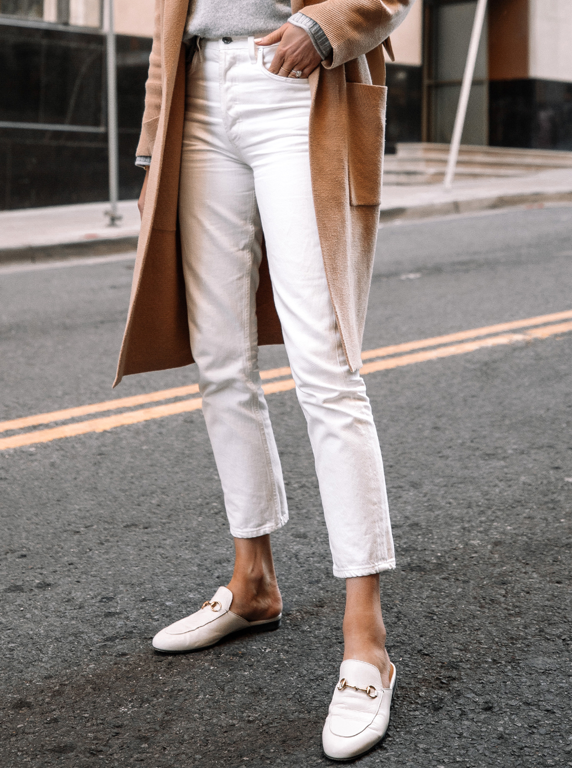 Fashoin Jackson Wearing Citizens of Humanity Charlotte High Rise Straight Jeans White Gucci Mules