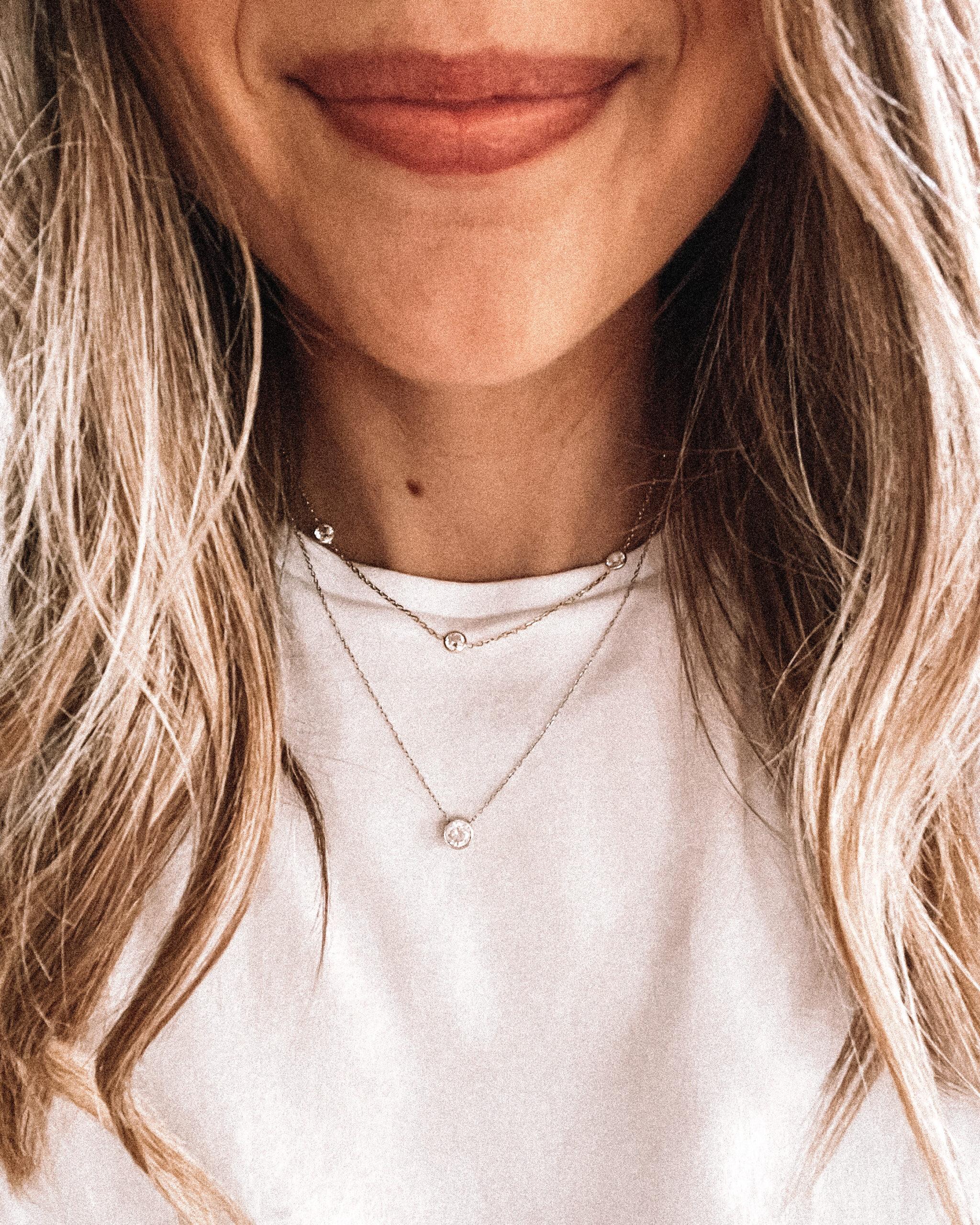 Fashion Jackson Wearing Amazon Fashion Jewelry Gold CZ Diamond Station Necklace