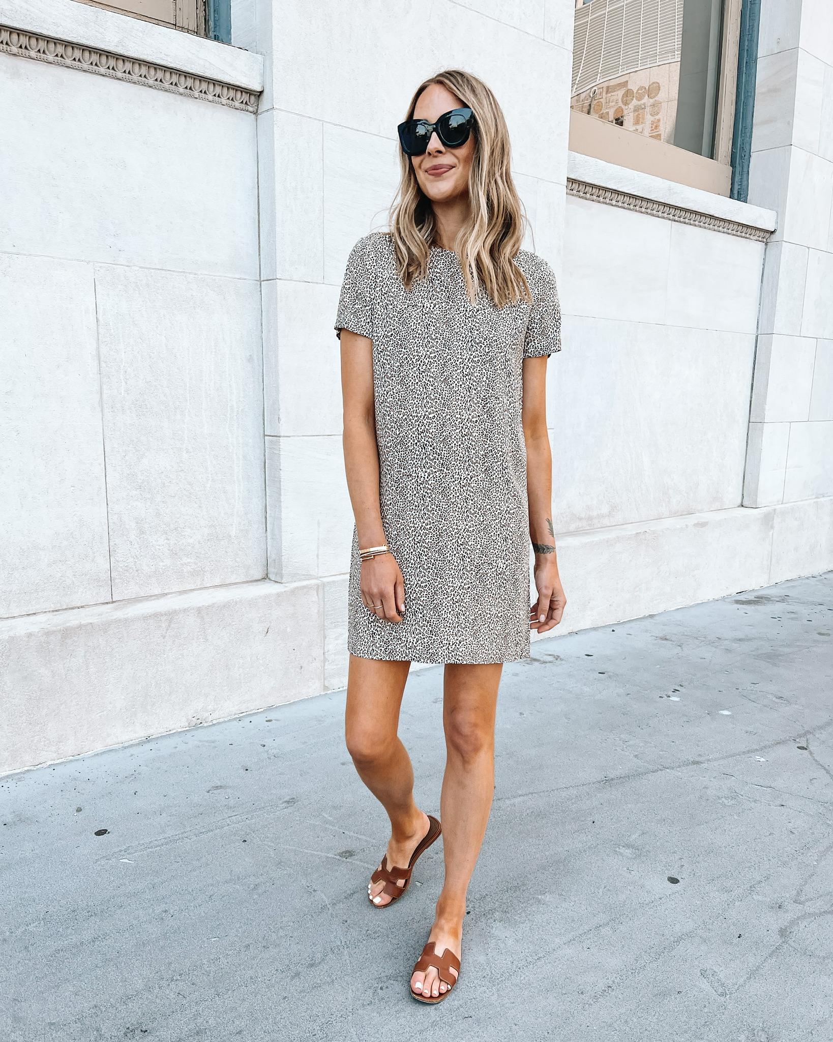 Fashion Jackson Wearing Jenni Kayne Leopard Mini Dress Hermes Oran Gold Sandals Summer Sandals Outfit