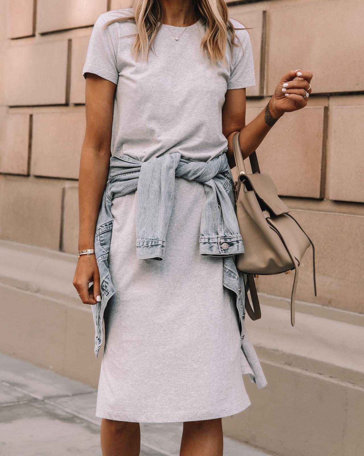 Fashion Jackson Wearing Jcrew Grey Midi Tshirt Dress Denim Jacket Celine Belt Bag 2