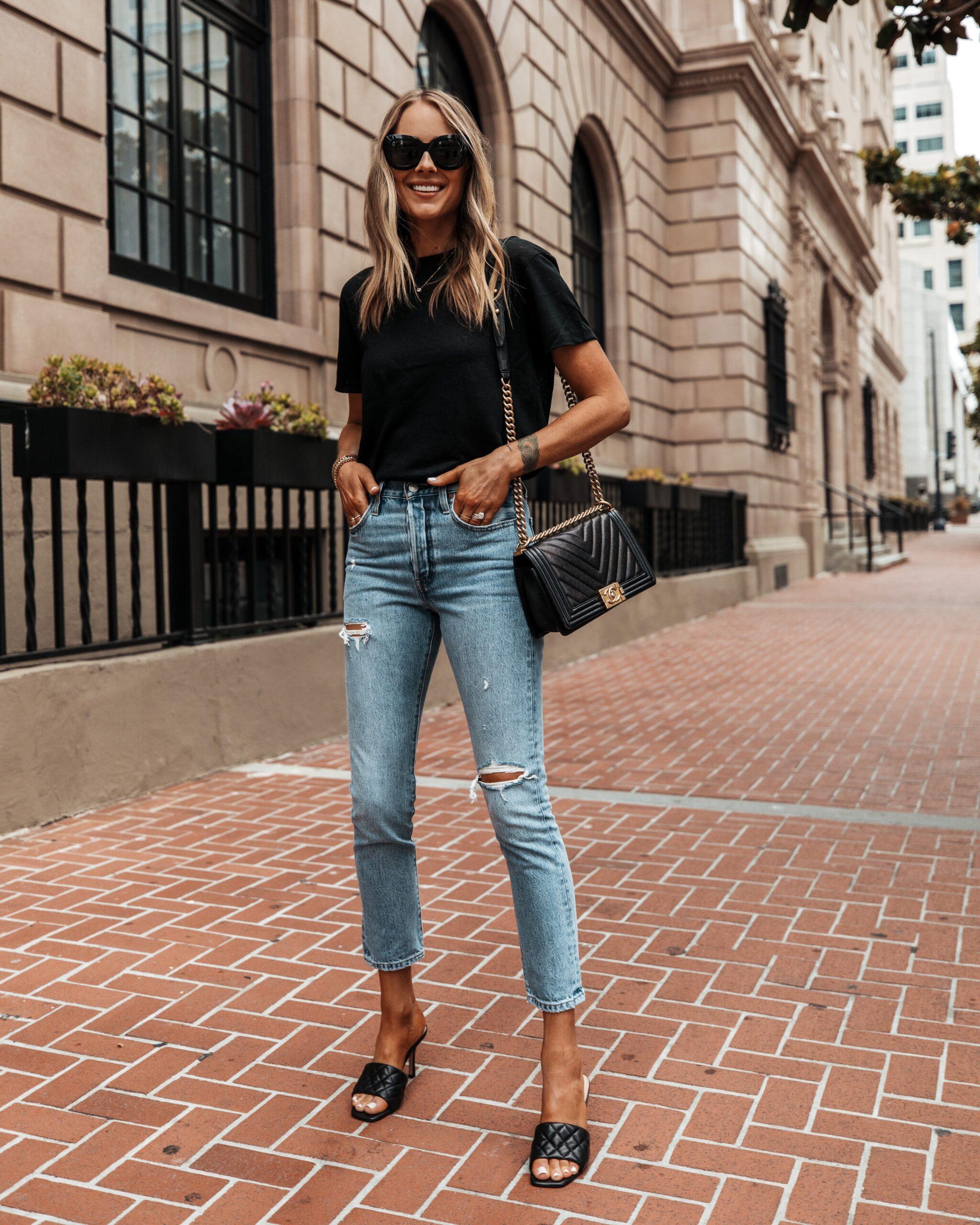 Fashion Jackson Wearing Black Tshirt Levis 501 Ripped Skinny Jeans Black Quilted Sandals Black Chanel Boy Bag