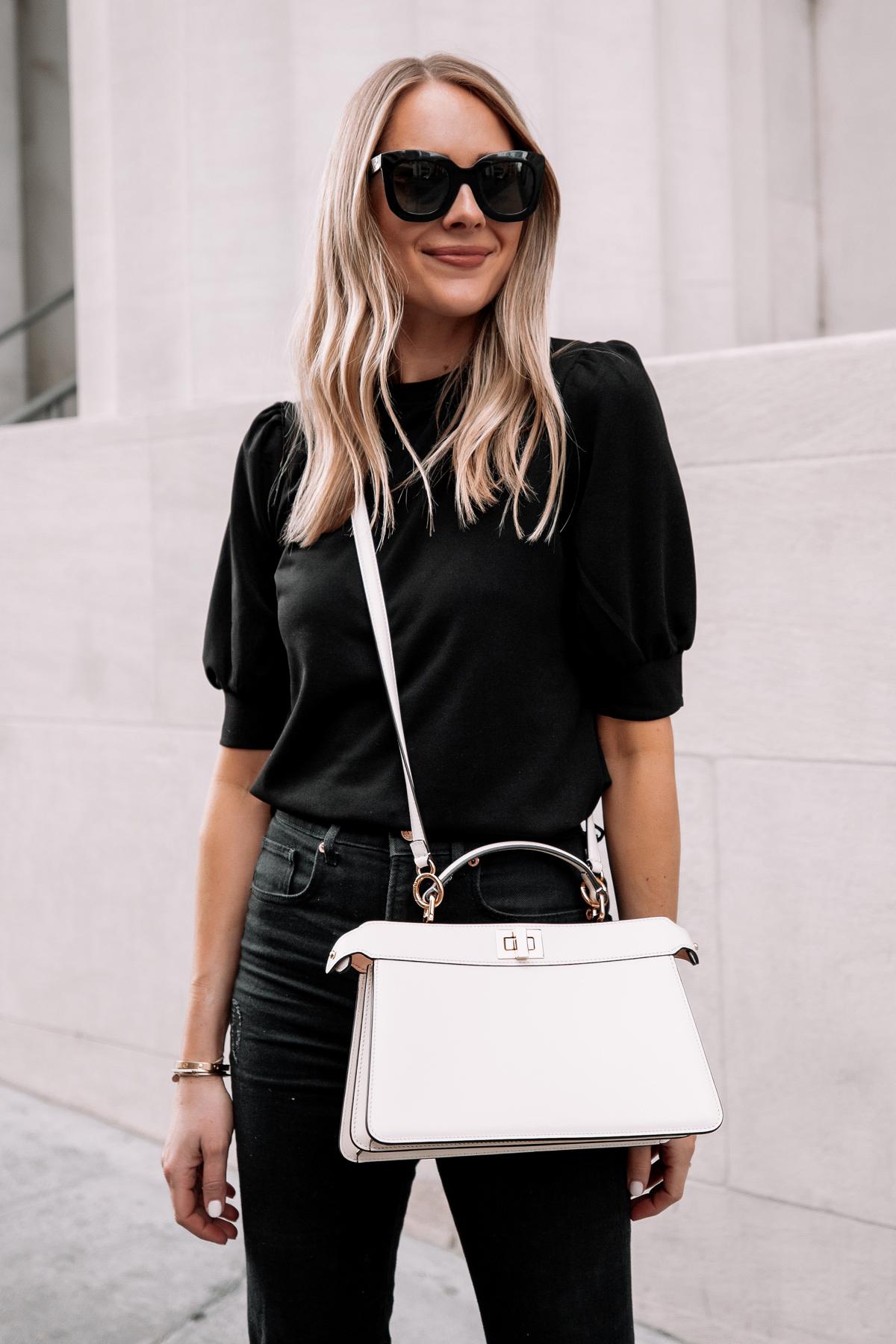 Fashion Jackson Wearing Black Puff Sleeve Top Black Jeans Fendi White Peekaboo Handbag