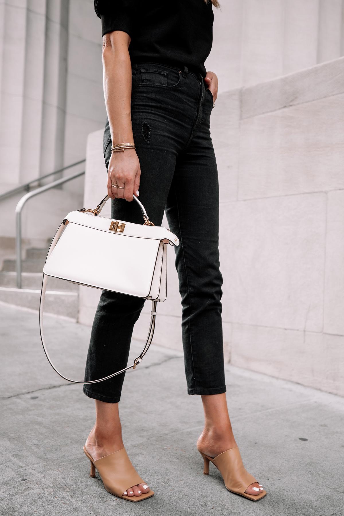 Fashion Jackson Wearing Black Top Black Ripped Jeans Nude Heeld Sandals Fendi White Peekaboo Handbag 1