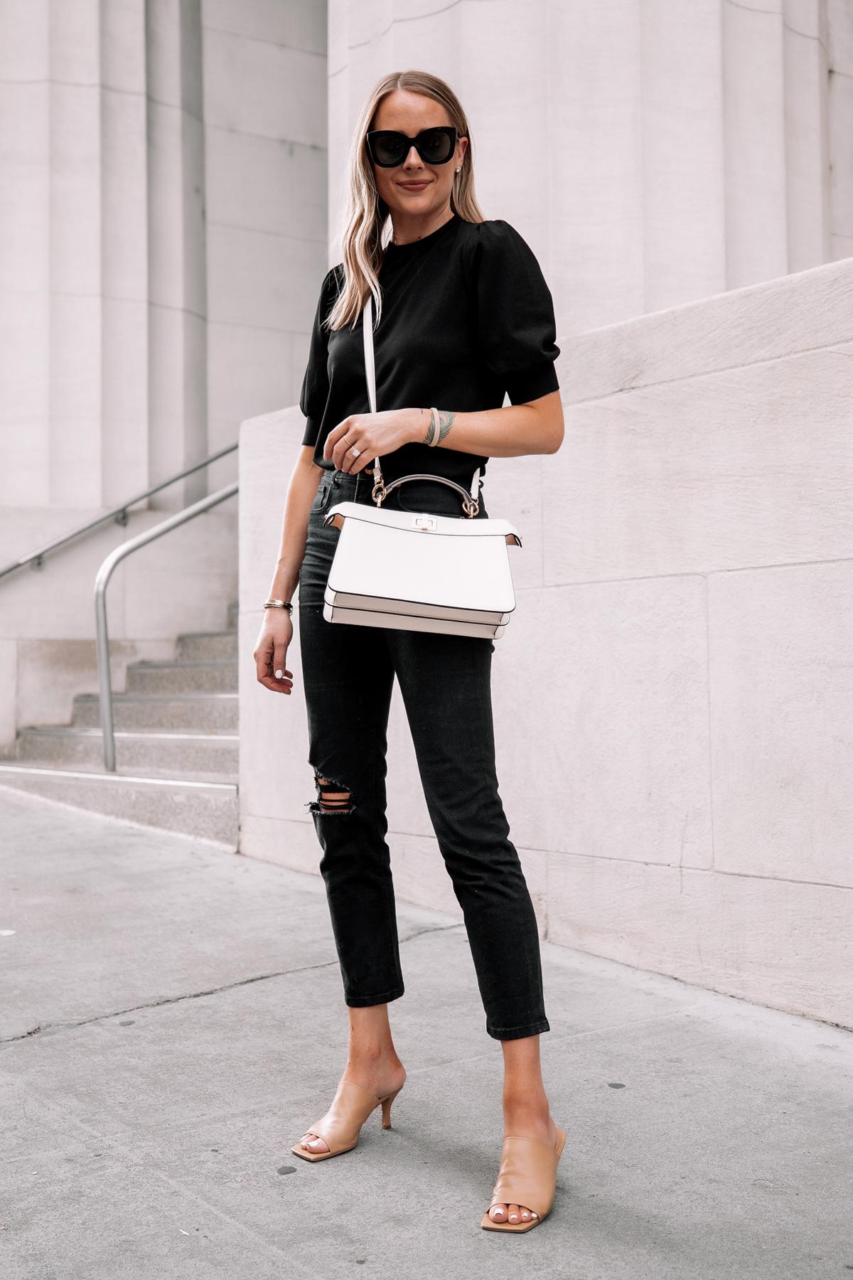 Fashion Jackson Wearing Black Top Black Ripped Jeans Nude Heeld Sandals Fendi White Peekaboo Handbag Street Style 1
