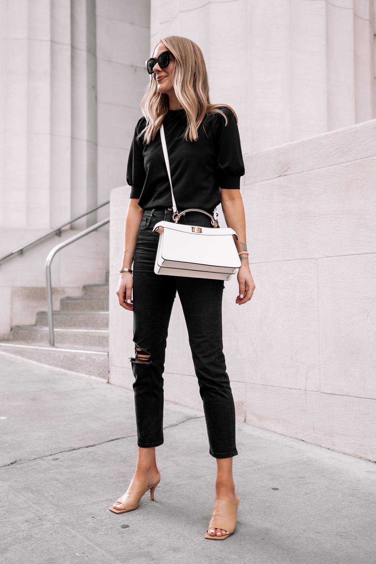 Fashion Jackson Wearing Black Top Black Ripped Jeans Nude Heeld Sandals Fendi White Peekaboo Handbag Street Style 2