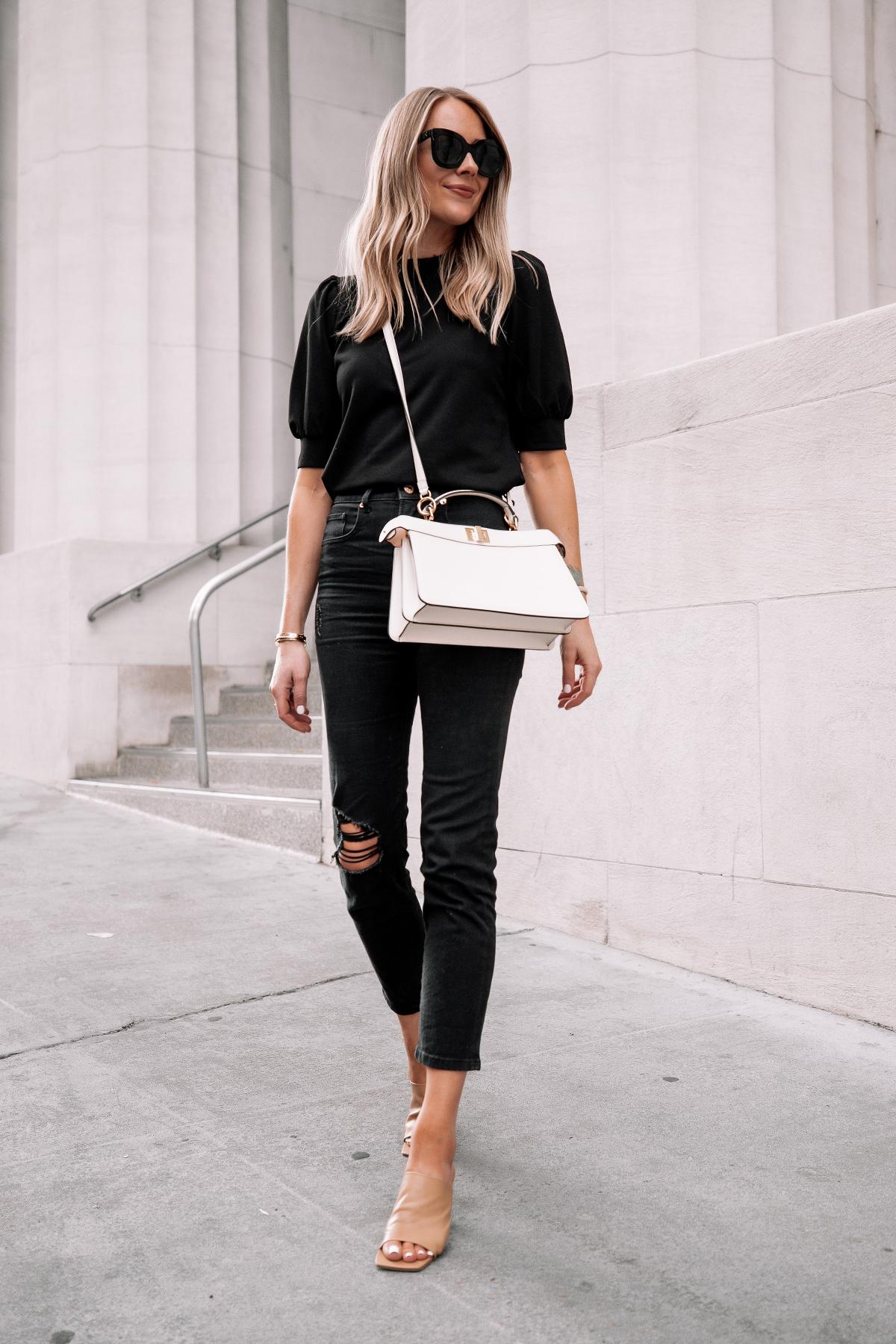 Fashion Jackson Wearing Black Top Black Ripped Jeans Nude Heeld Sandals Fendi White Peekaboo Handbag Street Style