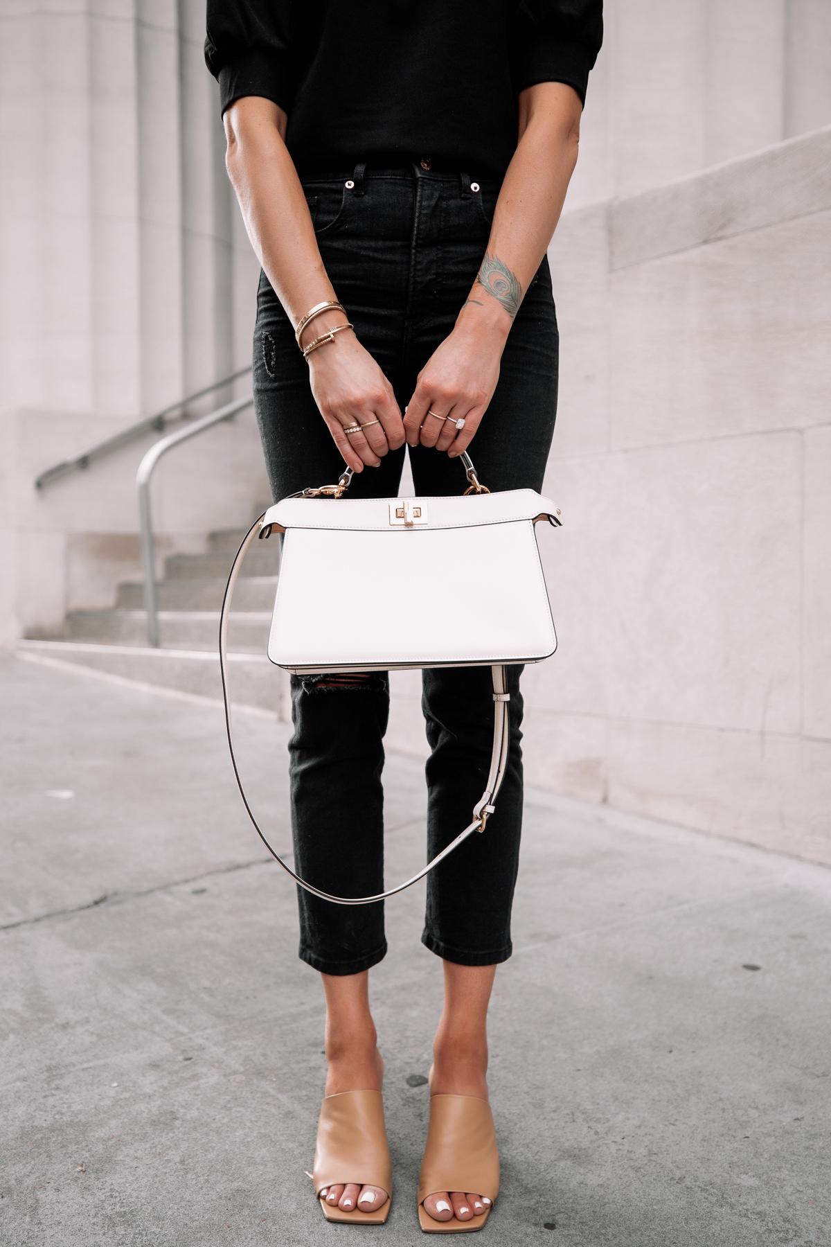 Fashion Jackson Wearing Black Top Black Ripped Jeans Nude Heeld Sandals Fendi White Peekaboo Handbag