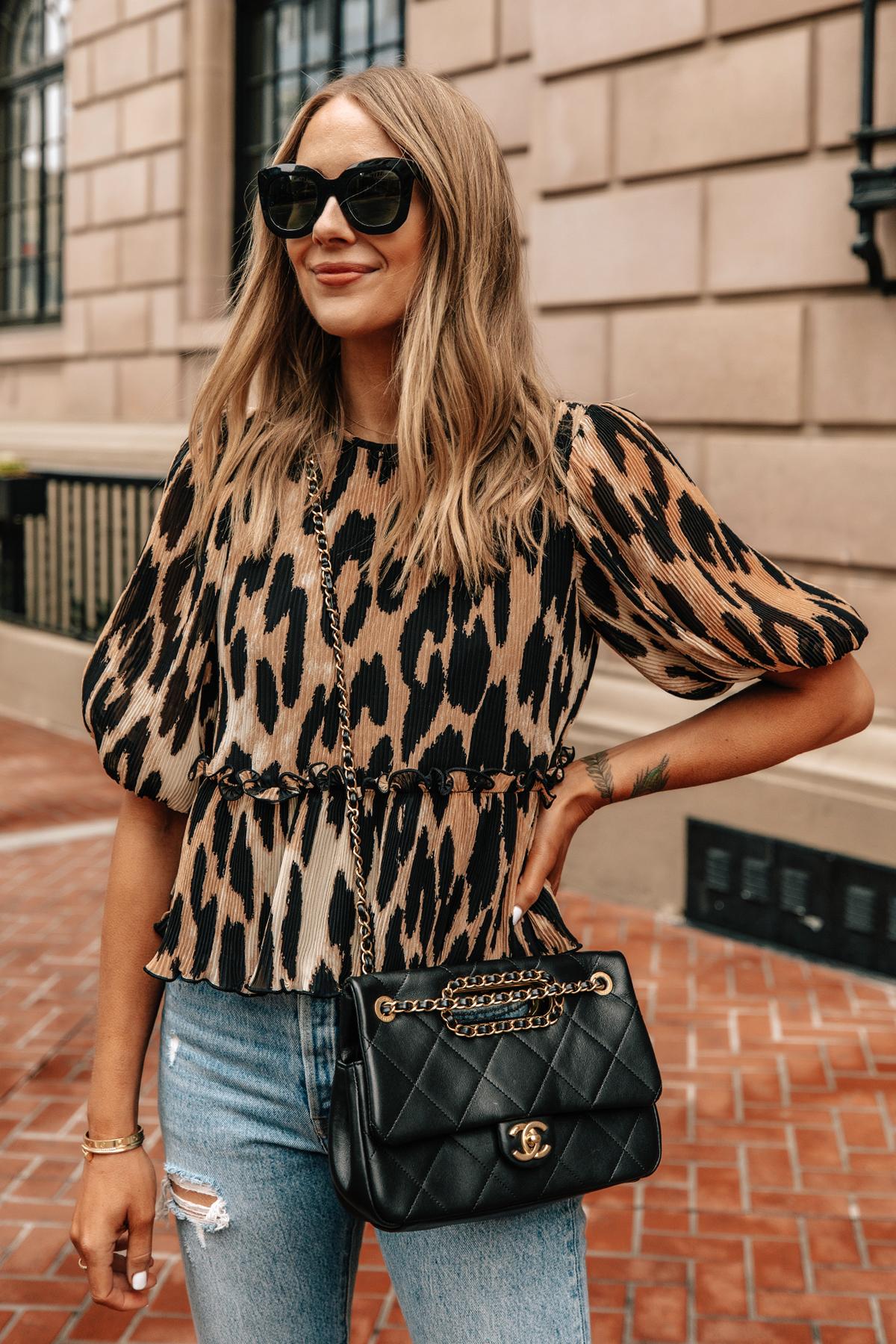 Fashion Jackson Wearing Ganni Leopard Top Levis Ripped Jeans Black Chanel Handbag