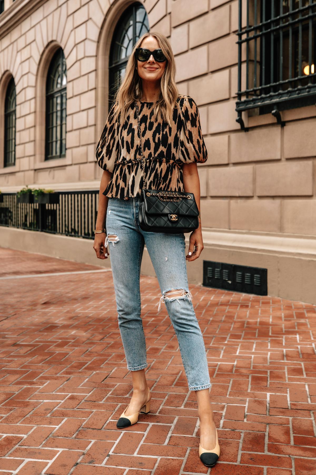 Fashion Jackson Wearing Ganni Leopard Top Levis Ripped Jeans Chanel Slingbacks Black Chanel Handbag Street Style