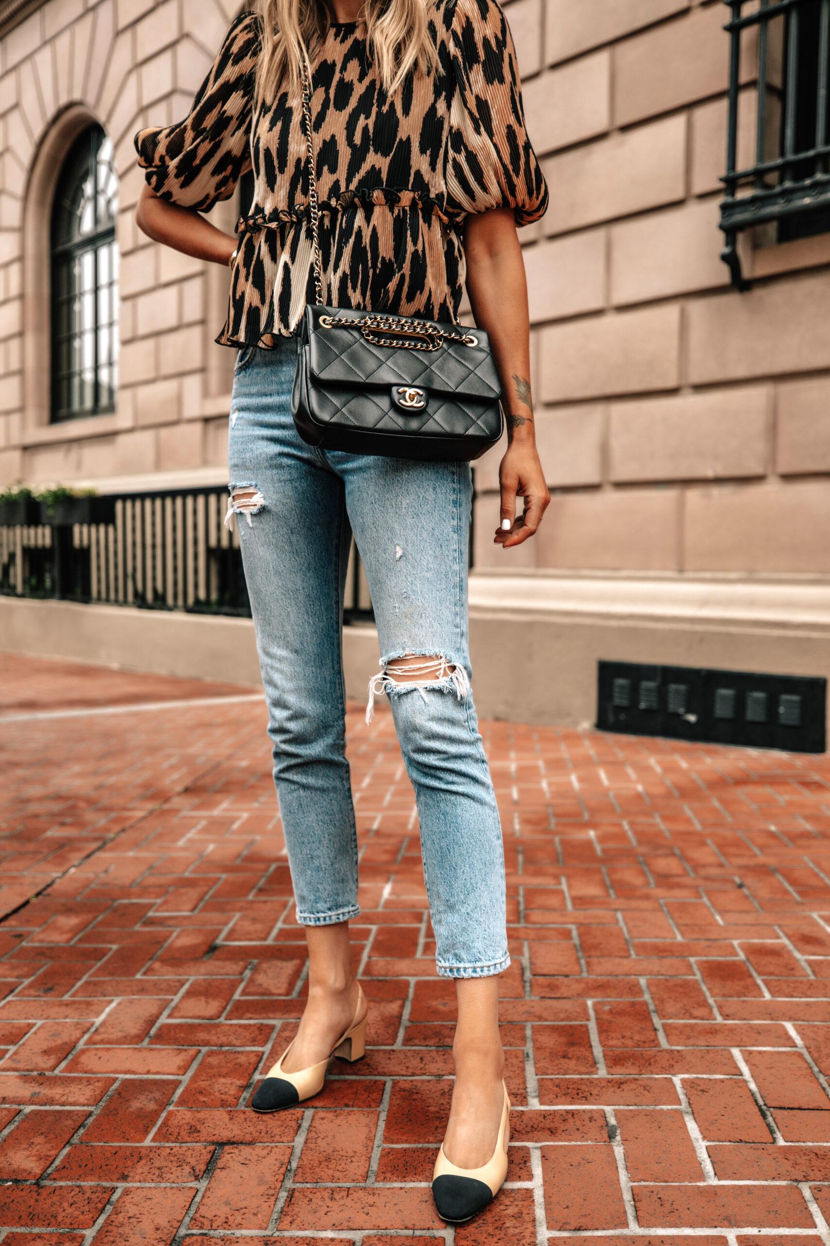 Fashion Jackson Wearing Ganni Leopard Top Levis Ripped Jeans Chanel Slingbacks