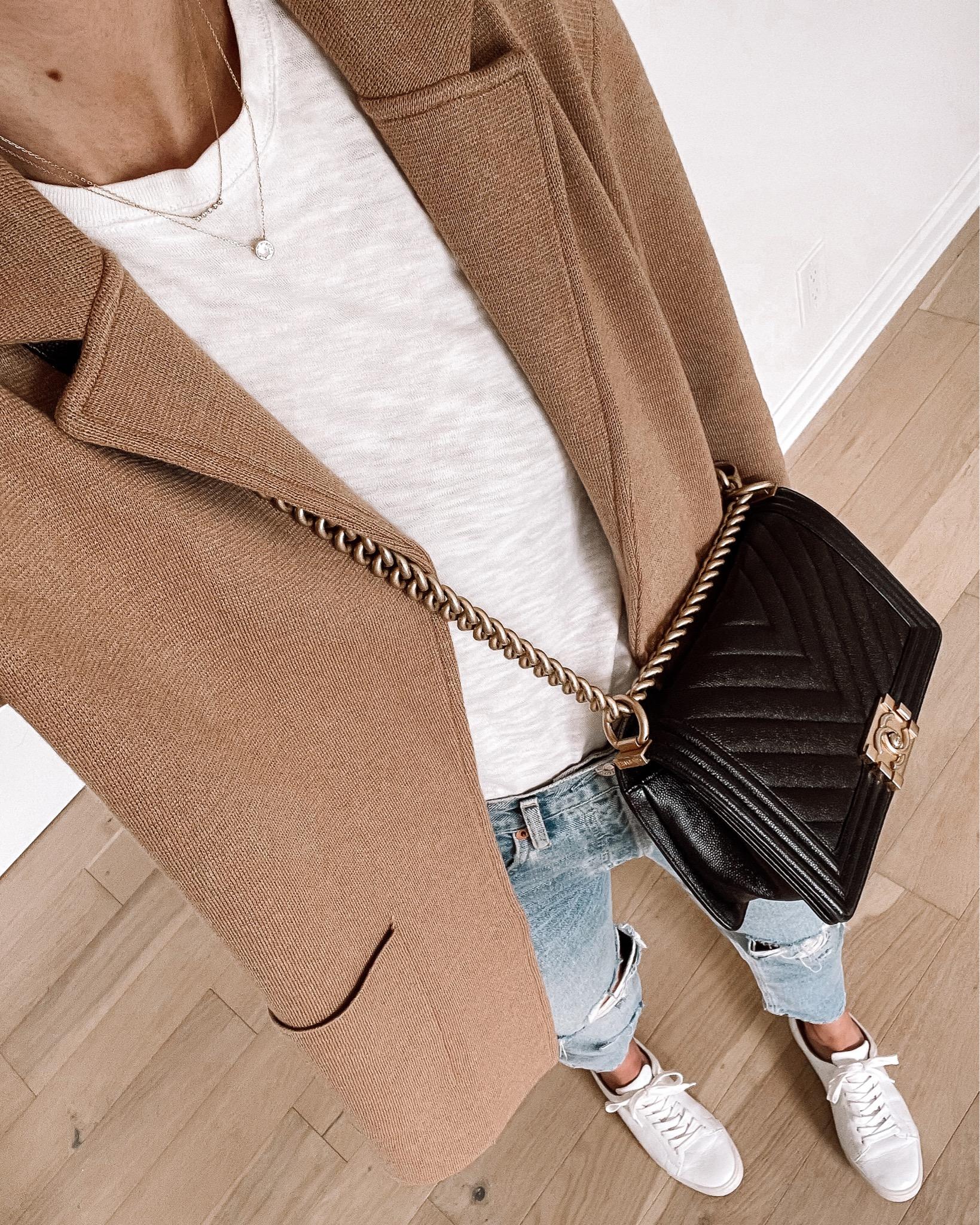 Fashion Jackson Wearing Jcrew Tan Cardigan White Tshirt Ripped Jeans White Sneakers Chanel Black Boy Bag