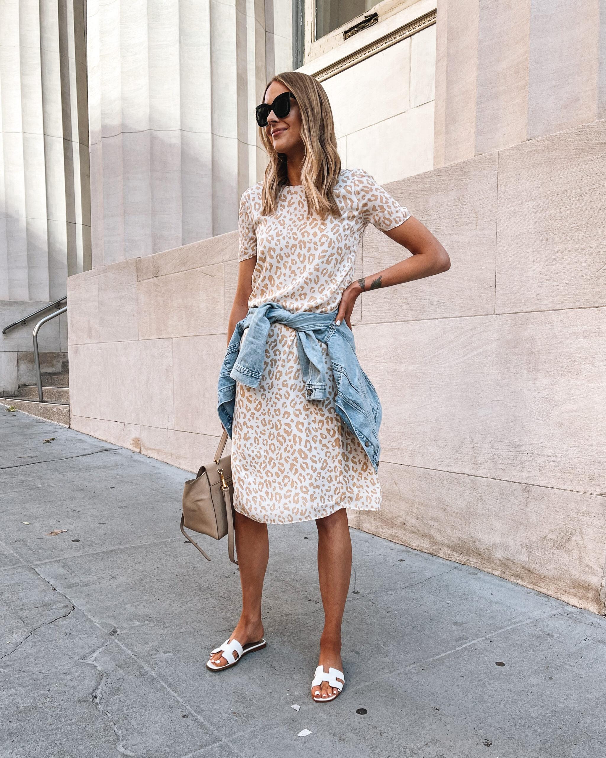 Fashion Jackson Wearing Jenni Kayne Leopard Midi Dress Denim Jacket White Hermes Oran Sandals Summer Dress Outfit