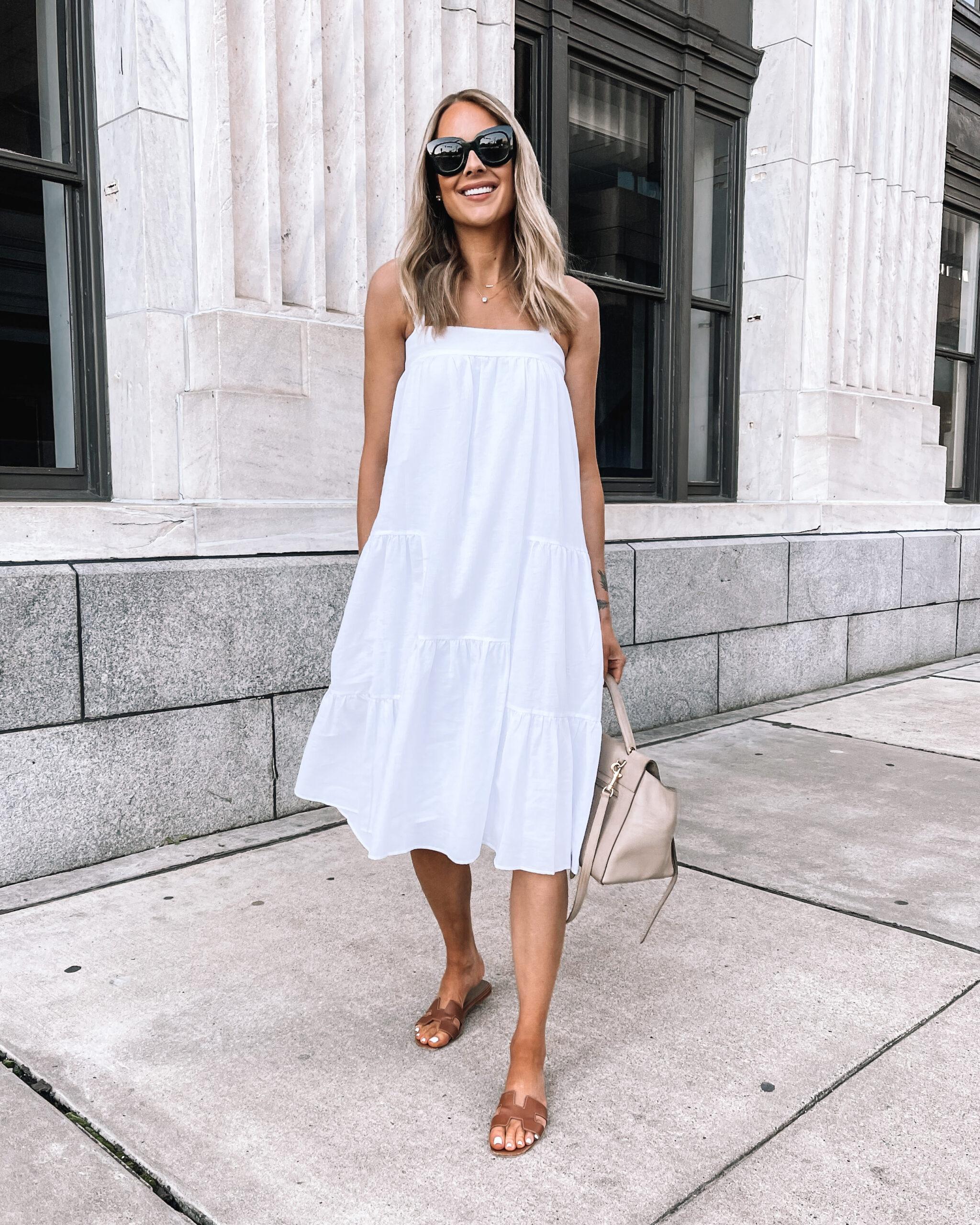 Fashion Jackson Wearing Jenni Kayne White Summer Dress Brown Hermes Oran Sandals Summer Dress Outfit