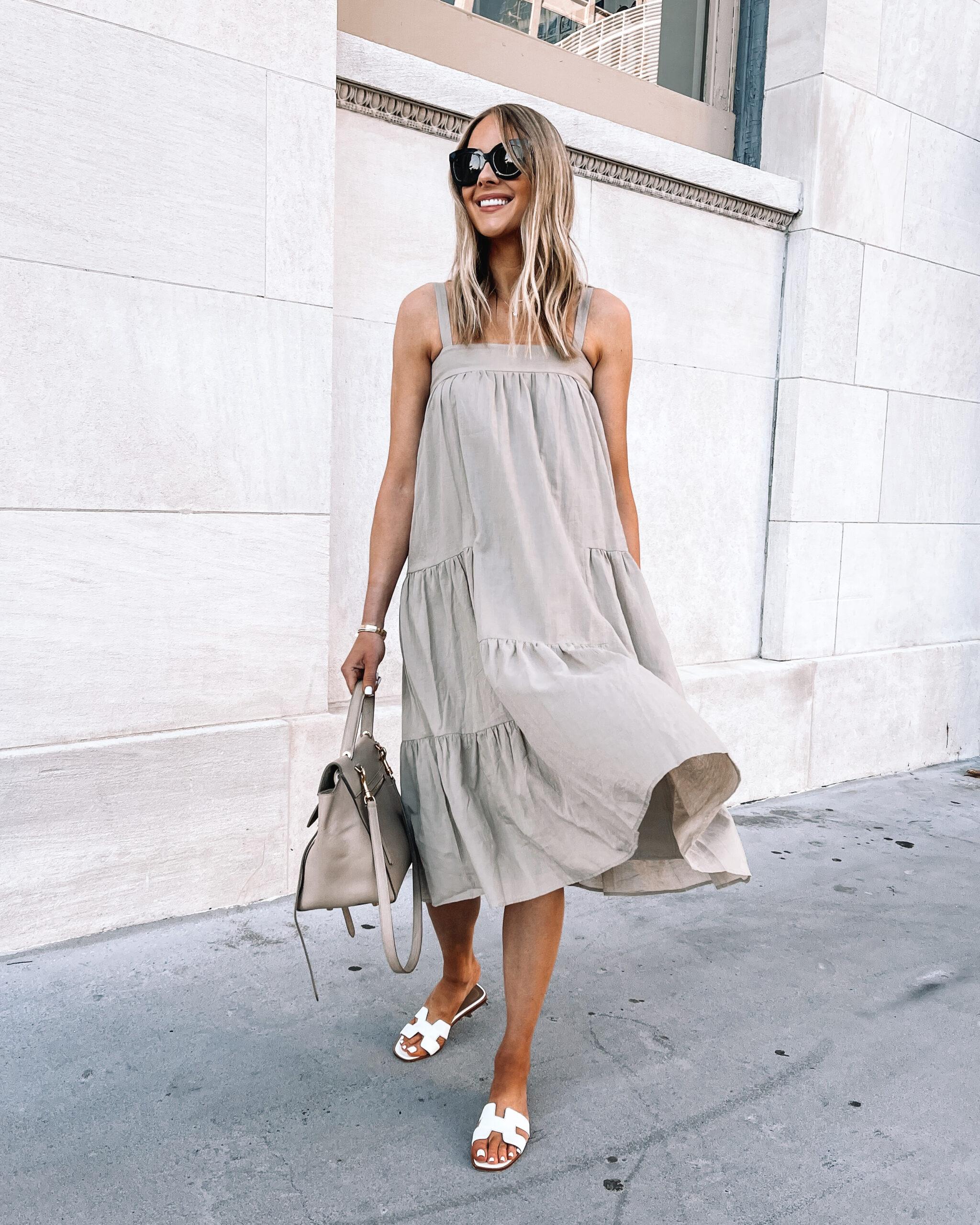 Fashion Jackson Wearing Jenni Kayne Tan Summer Dress White Hermes Oran Sandals Summer Dress Outfit