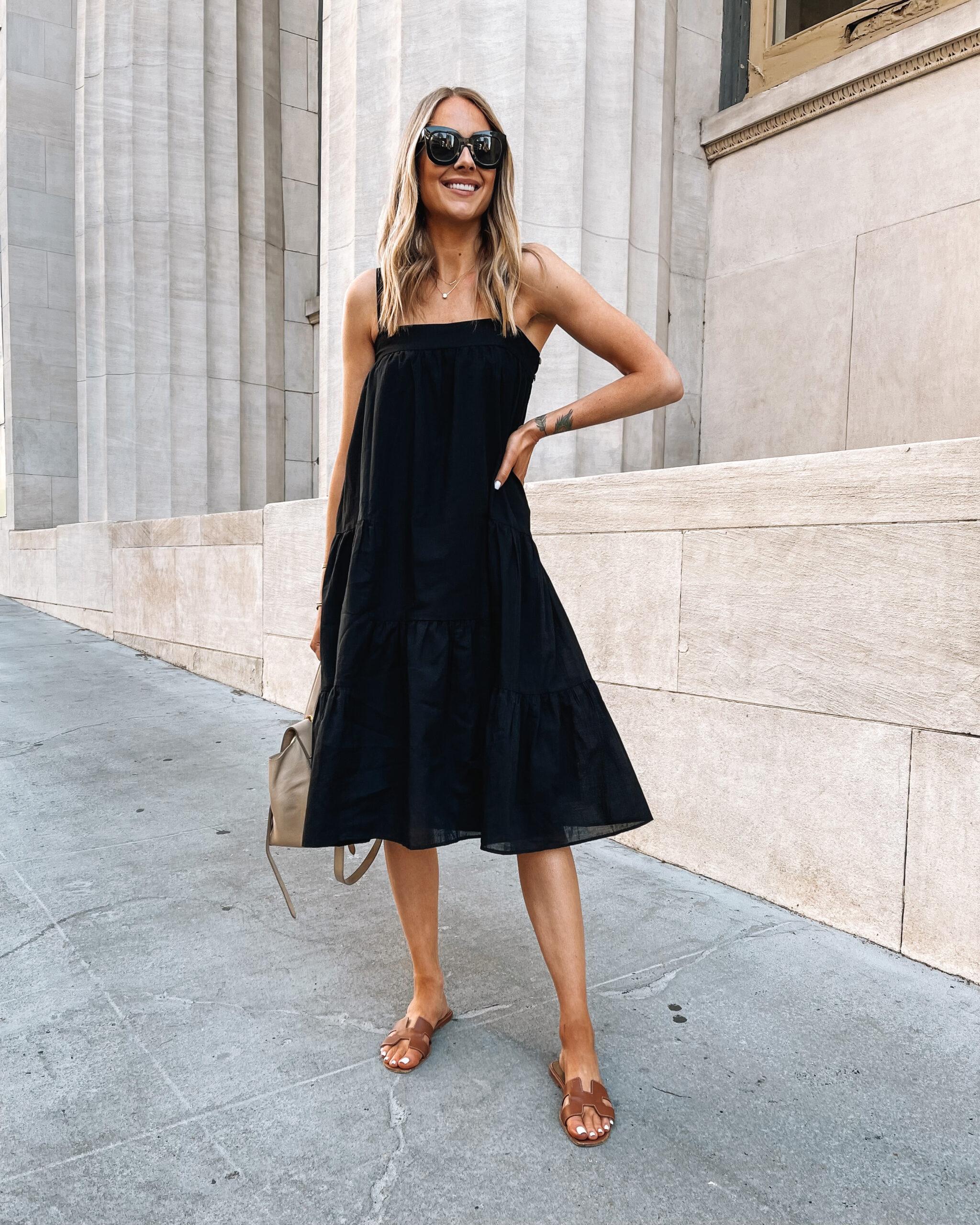 Fashion Jackson Wearing Jenni Kayne Black Summer Dress White Hermes Oran Sandals Summer Dress Outfit