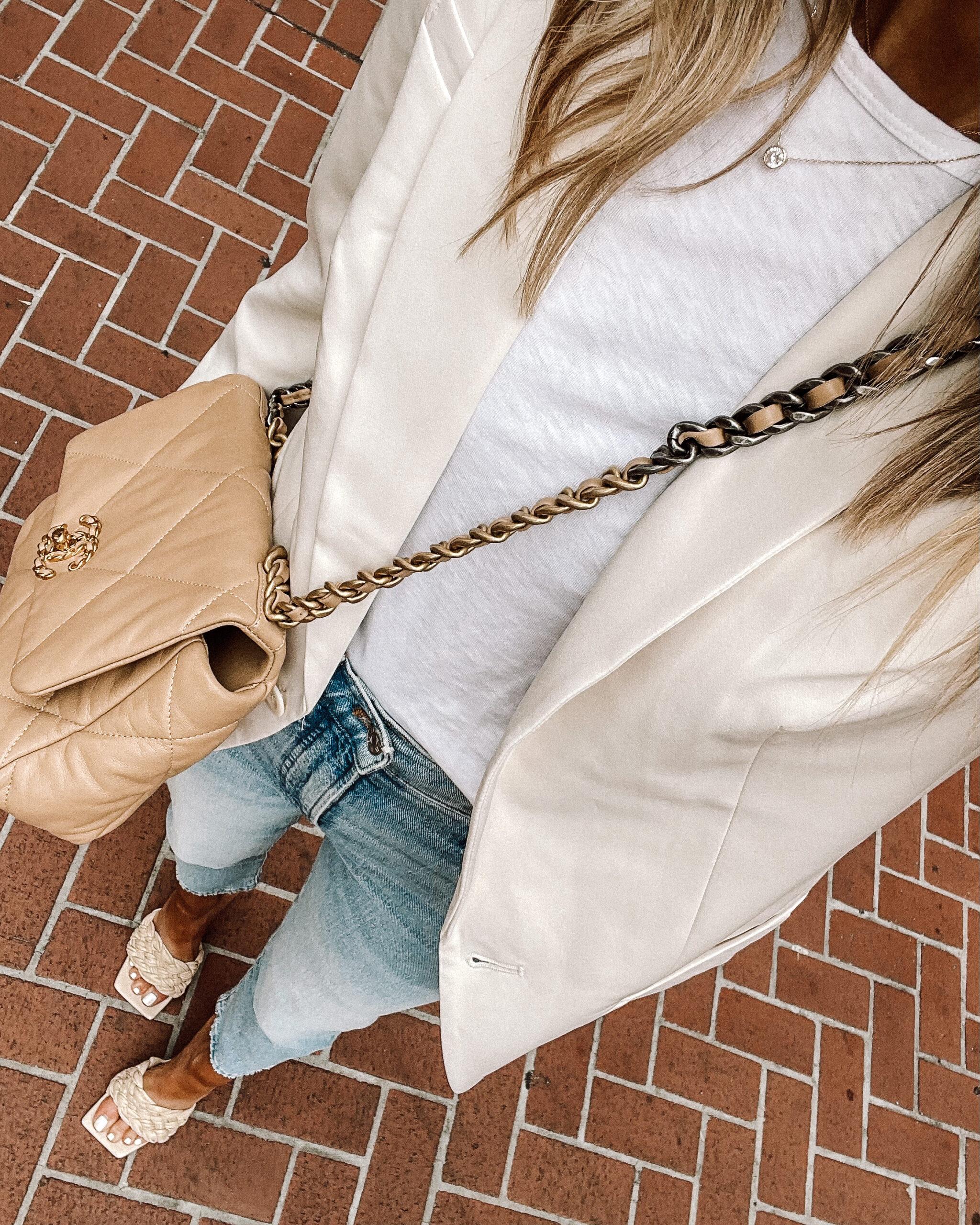 Fashion Jackson Wearing White Blazer White Tshirt Jeans White Quilted Sandals Chanel Handbag