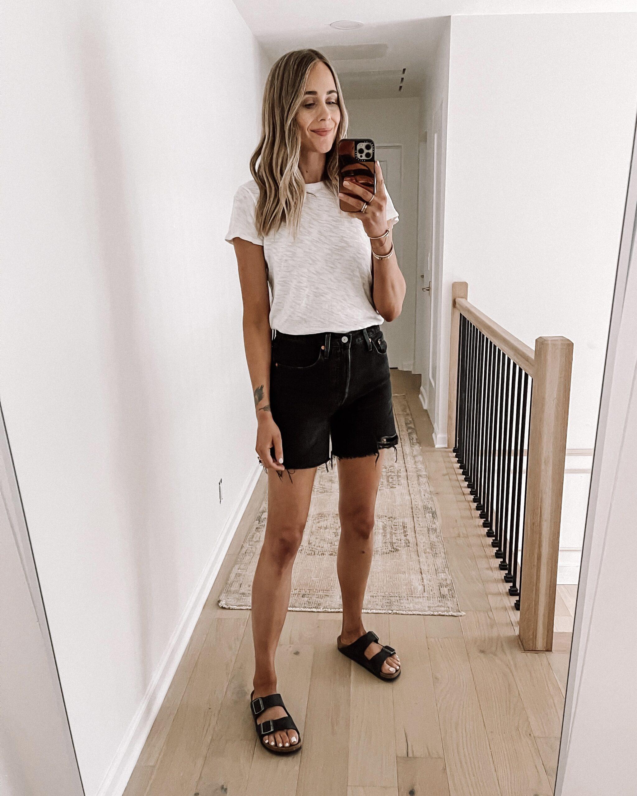 Fashion Jackson Wearing ATM White Tshirt Levis 501 Mid Thigh Black Denim Shorts Black Birkenstock Sandals Shopbop Haul