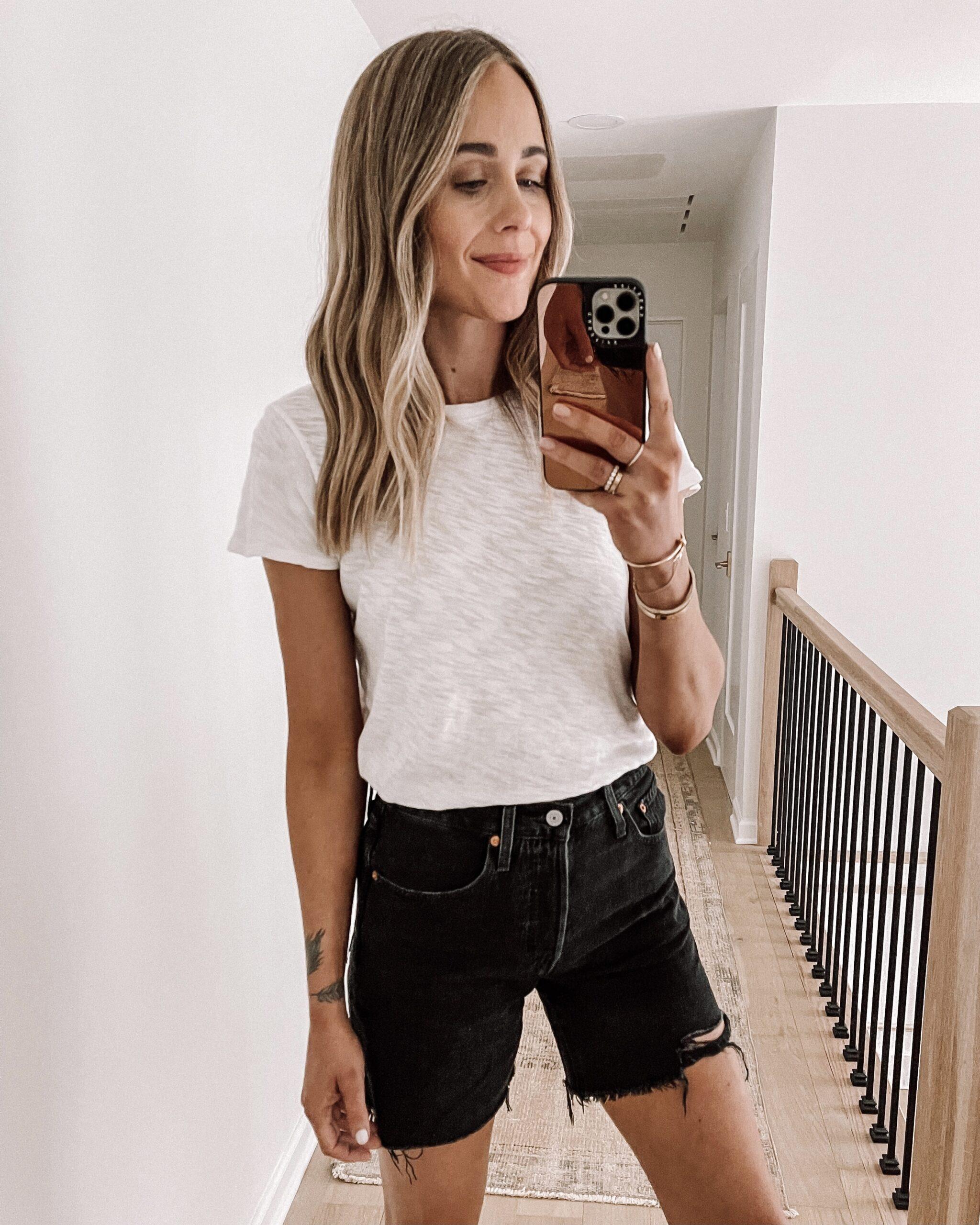 Fashion Jackson Wearing ATM White Tshirt Levis 501 Mid Thigh Black Denim Shorts Shopbop Haul