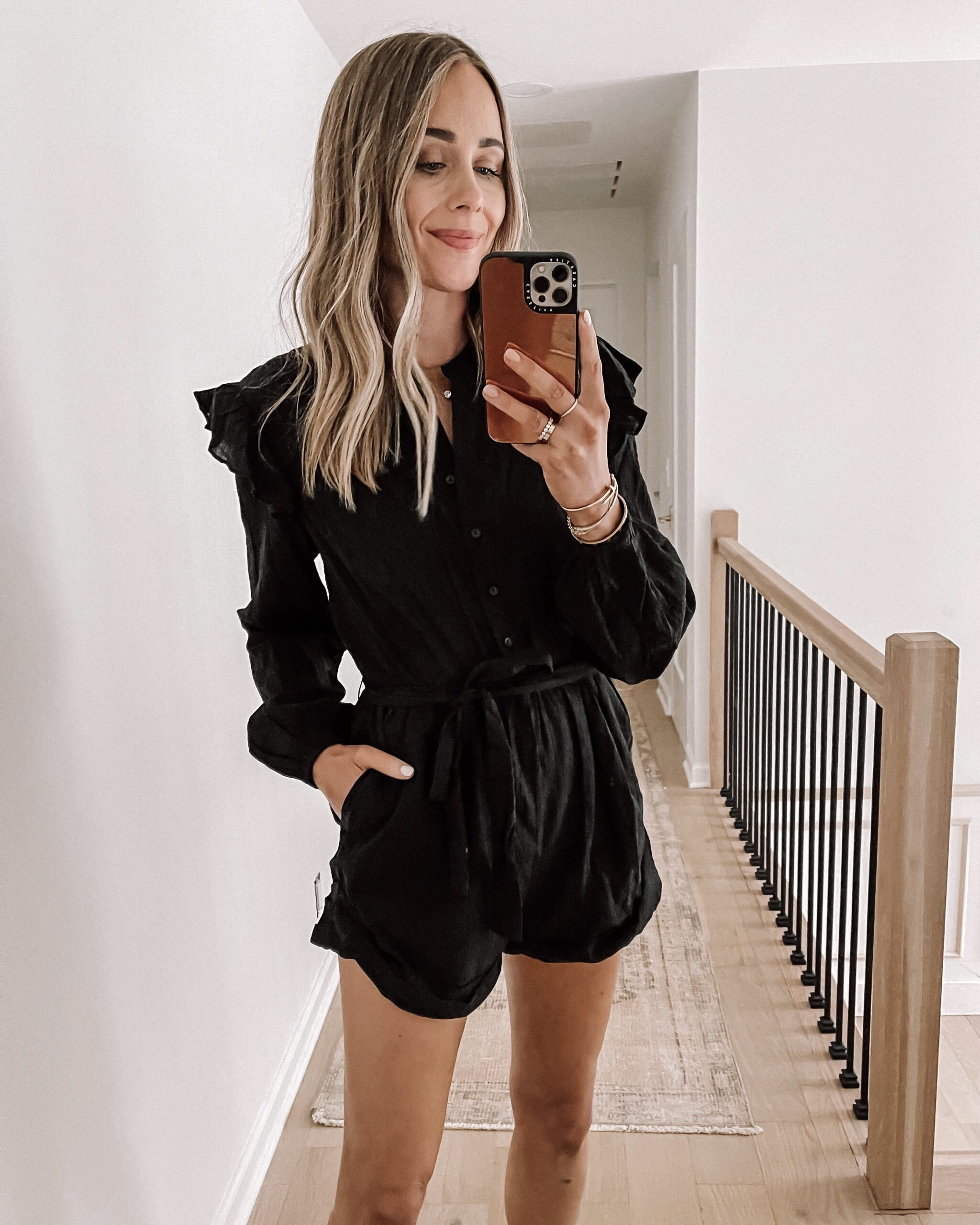 Fashion Jackson Wearing Black Ruffle Long Sleeve Romper Shopbop Haul