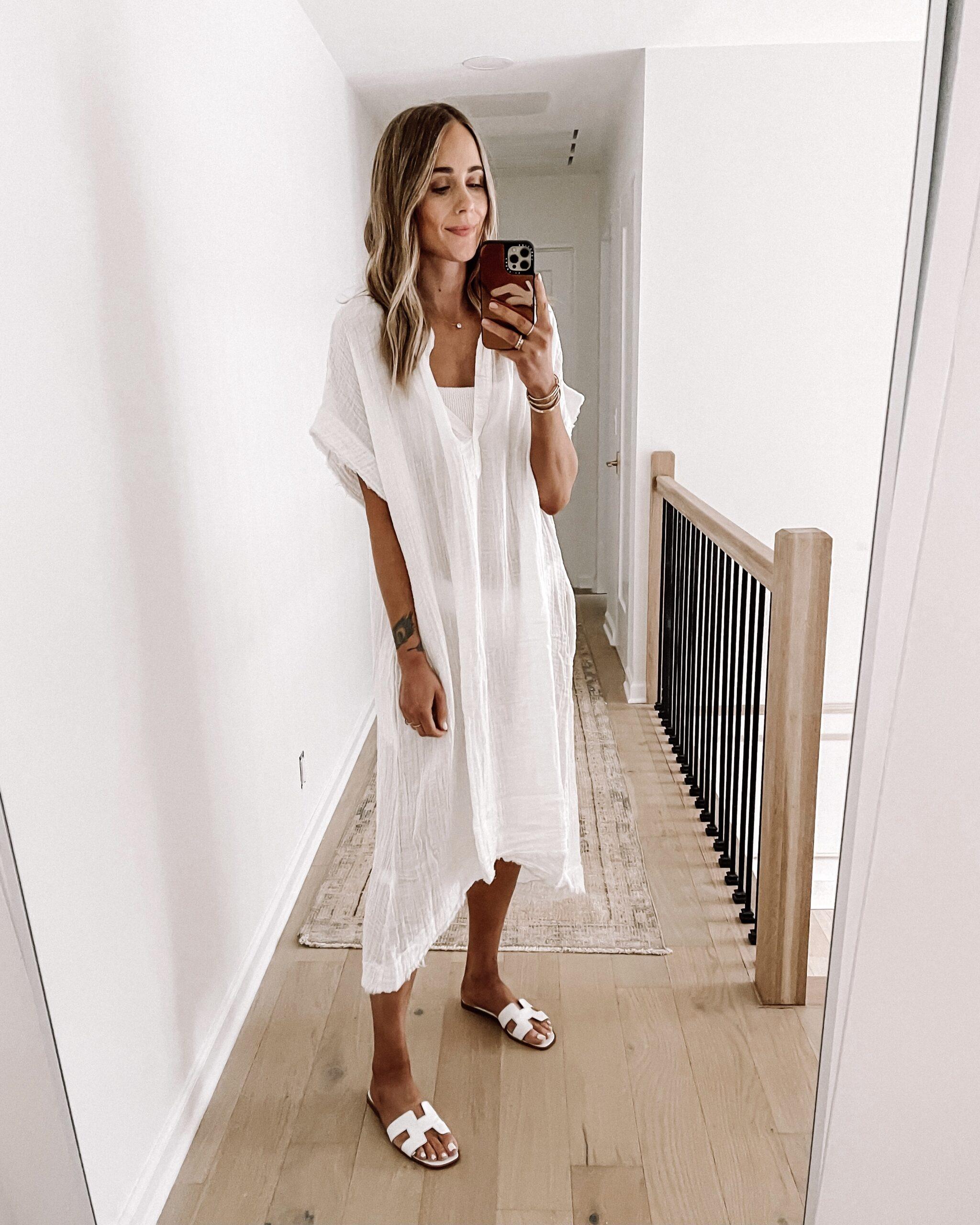 Fashion Jackson Wearing White Caftan Swimsuit Coverup White Hermes Sandals Shopbop Haul