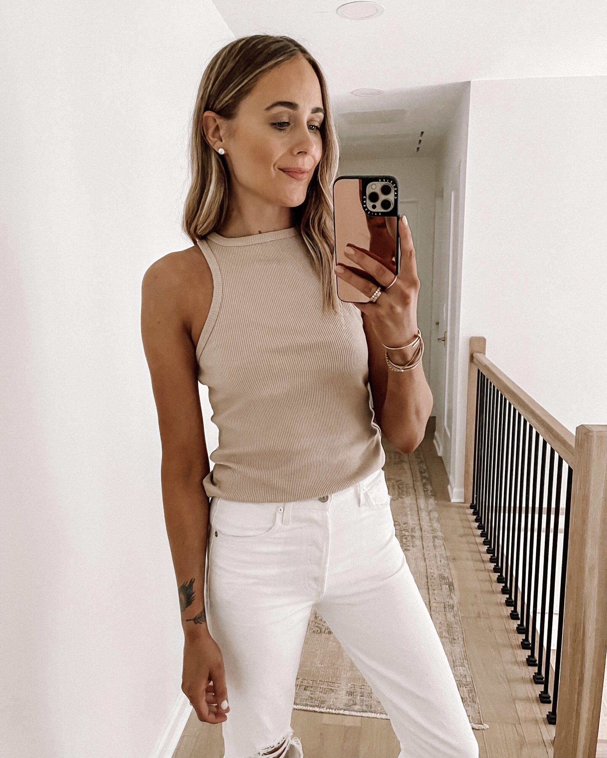 Fashion Jackson Wearing AGOLDE Tan Tank White Jeans Shopbop Haul