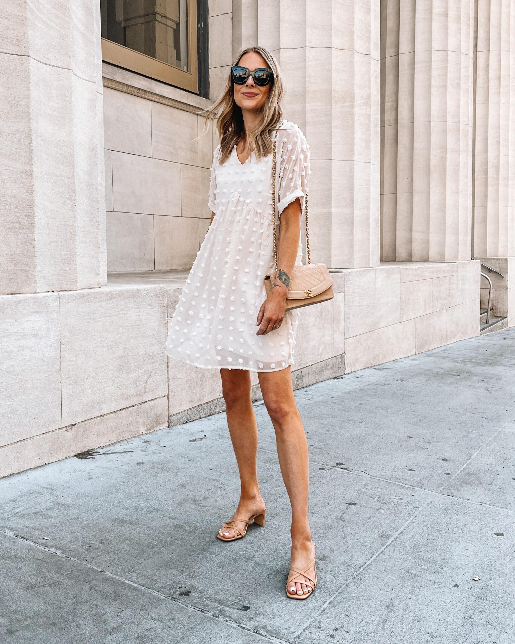 Fashion Jackson Wearing Amazon Fashion Beige Summer Dress Tan Heeled Sandals