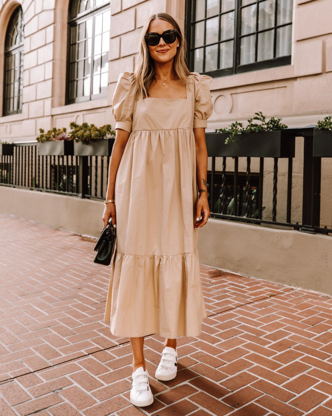 Fashion Jackson Wearing Beige Midi Dress Veja Velcro Sneakers Street Style Outfit 1
