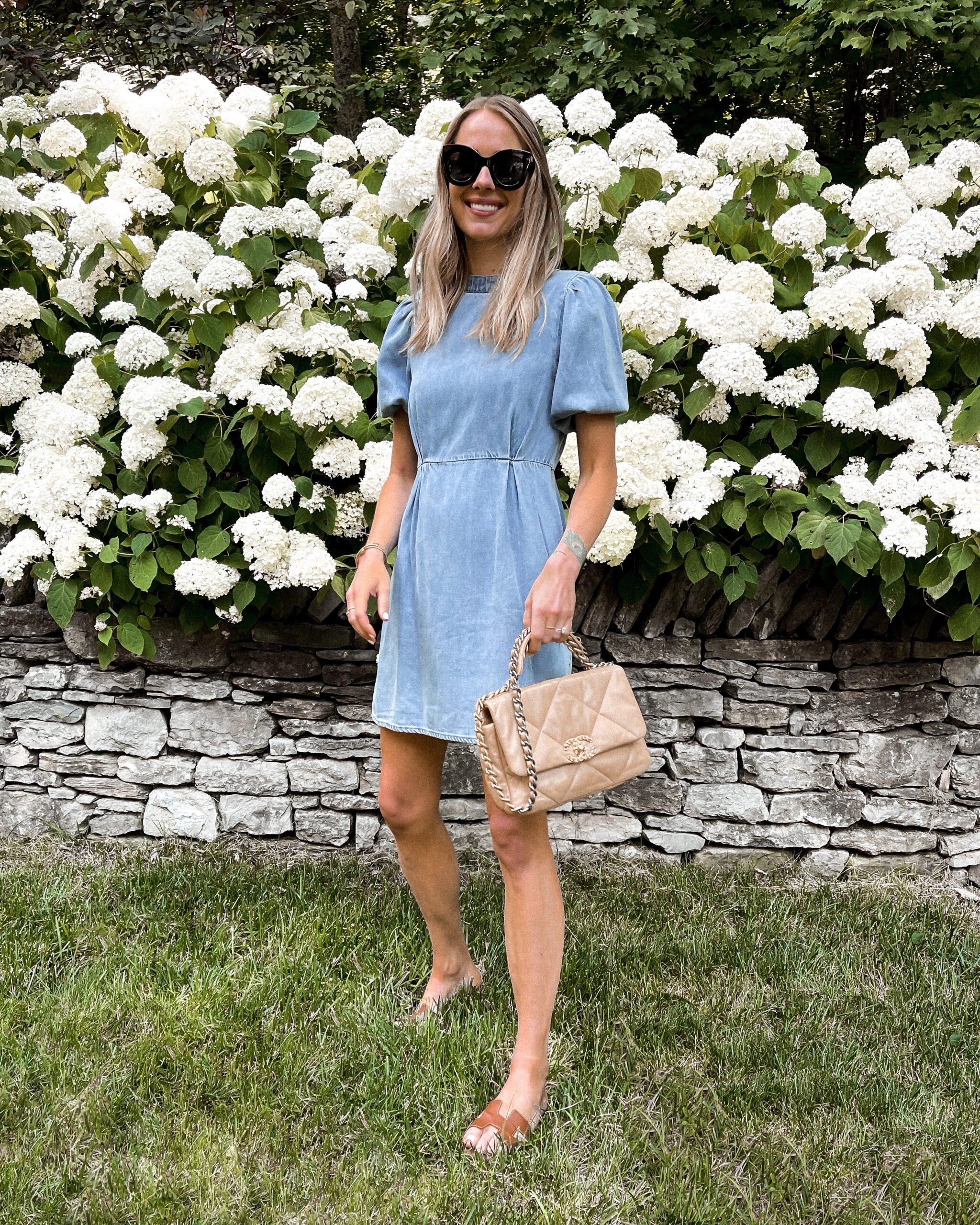 Fashion Jackson Wearing Chambray Mini Dress Tan Hermes Sandals Beige Chanel Handbag Summer Dress Outfit