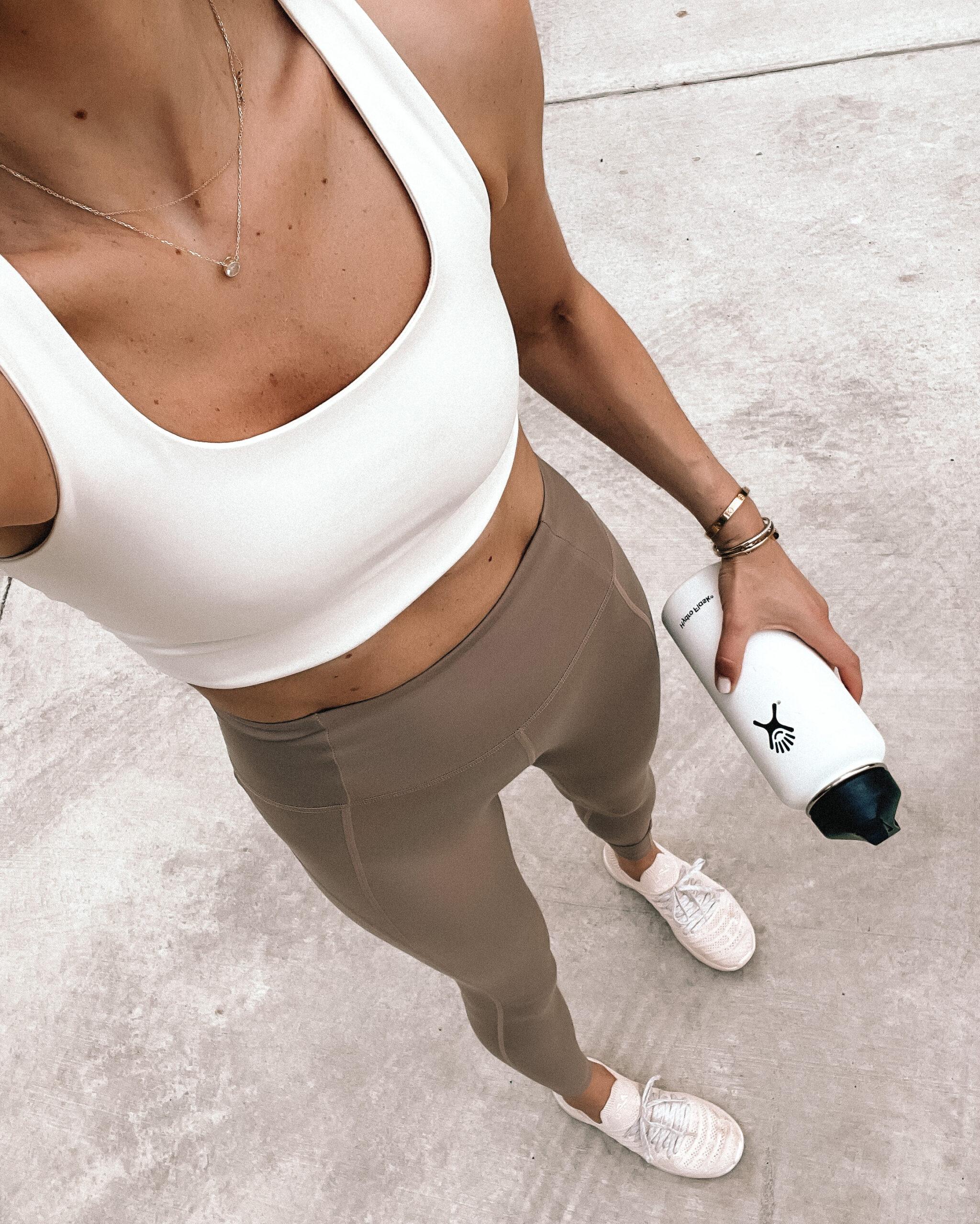 Fashion Jackson Wearing Girlfriend Paloma Sports Bra White Girlfriend High Waist Full Length Leggings Limestone APL Blush Sneakers White Hydroflask Womens Workout Outfit
