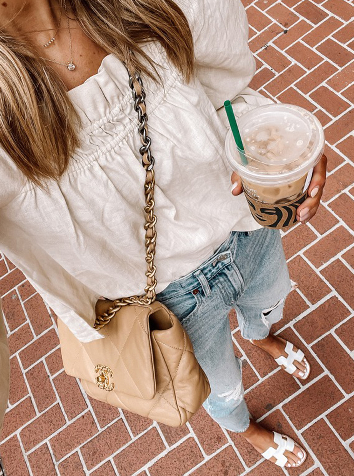 Fashion Jackson Wearing Linen Smocked Blouse Madewell Ripped Jeans Hermes Oran Sandals Chanel 19