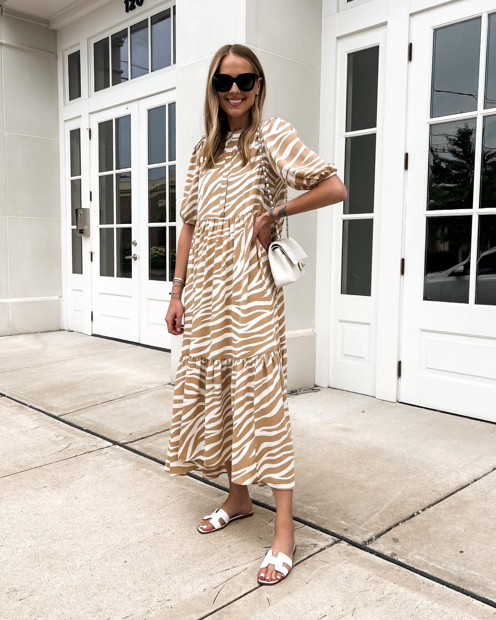 Fashion Jackson Wearing Maxi Beige Zebra Print Dress White Hermes Sandals White Chanel Handbag Summer Dress Outfit