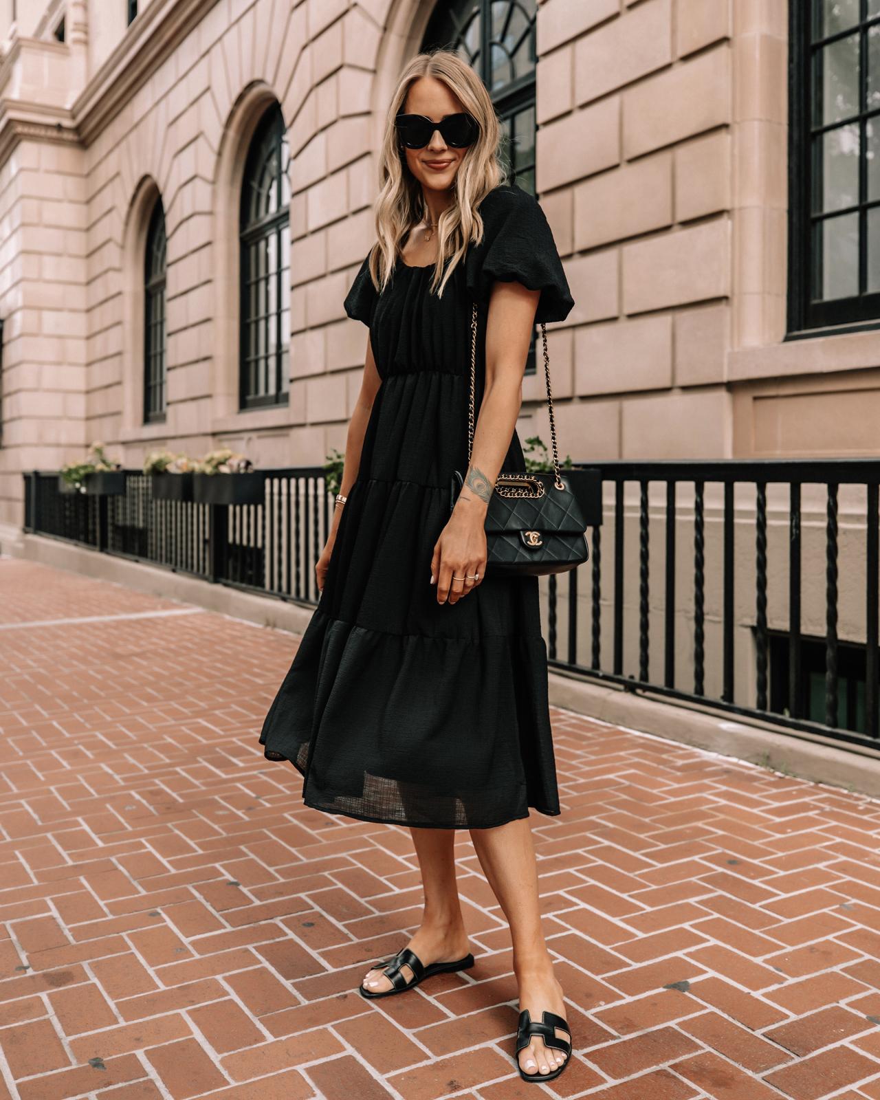Fashion Jackson Wearing Nordstrom Black Midi Dress Black Hermes Sandals Summer Outfit