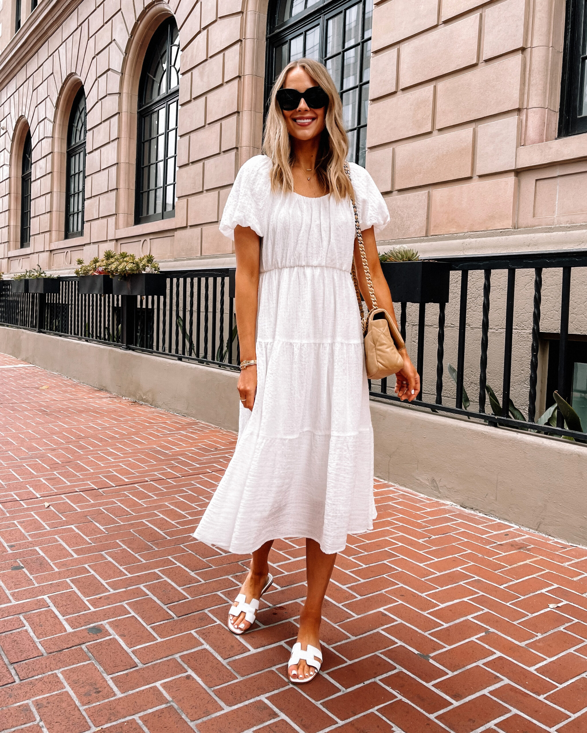 Fashion Jackson Wearing Nordstrom White Midi Dress White Hermes Sandals Summer Outfit